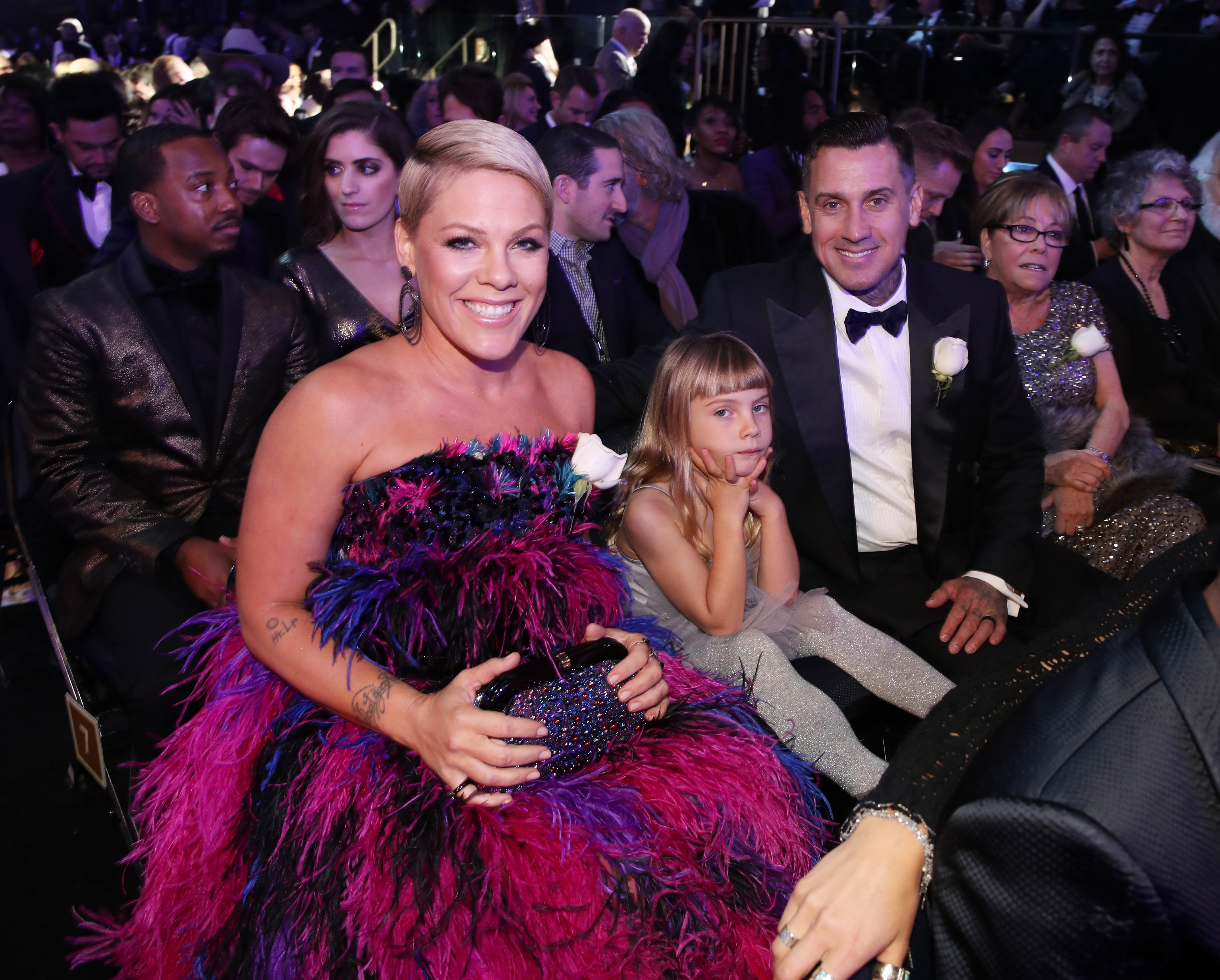 (L-R) Recording artist Pink, Willow Sage Hart, Carey Hart, and Judith Moore attend the 60th Annual GRAMMY Awards at Madison Square Garden on January 28, 2018, in New York City. (Getty Images)