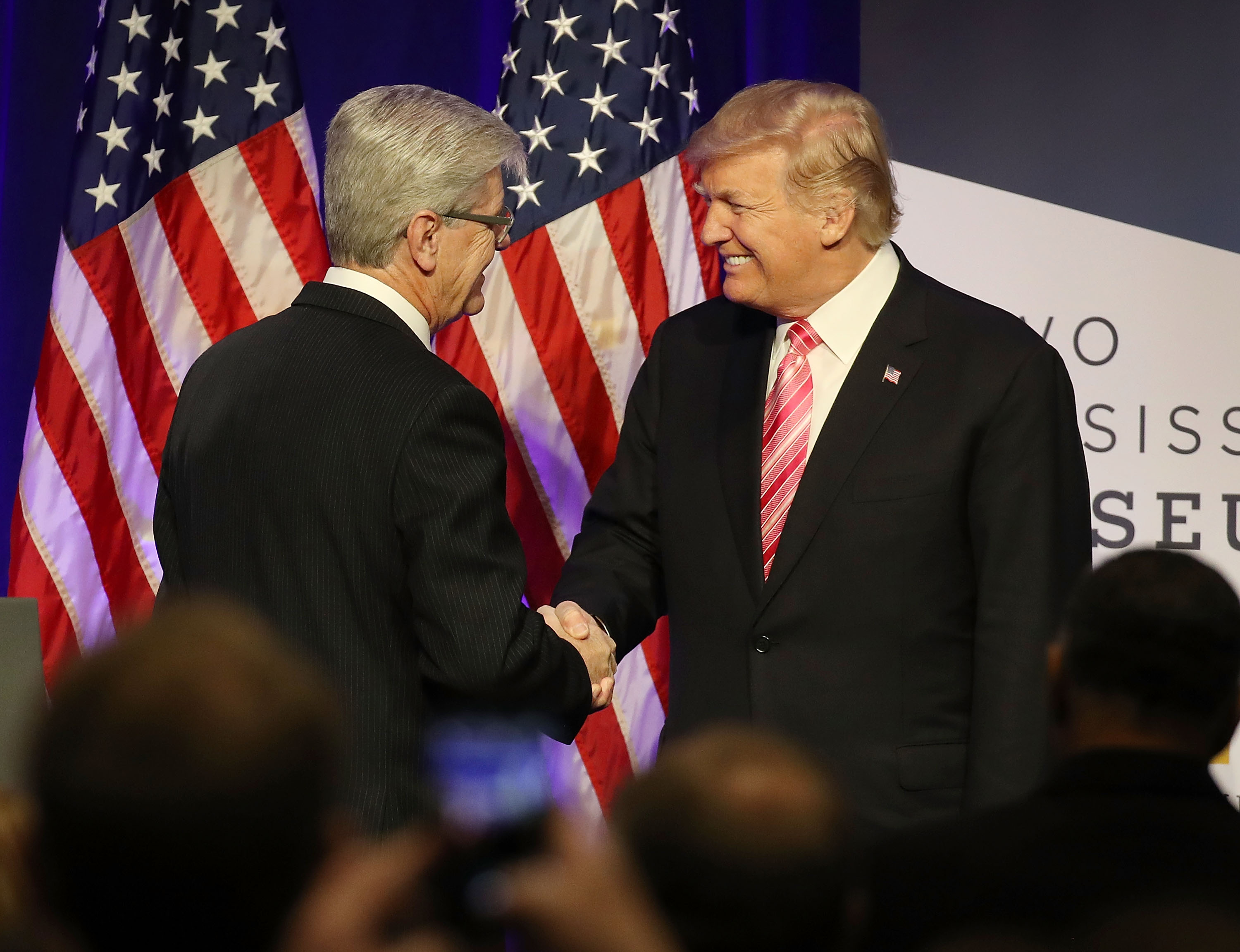 President Donald Trump is introduced by Mississippi Governor Phil Bryant to speak after touring the Mississippi Civil Rights Museum on December 9, 2017 in Jackson, Mississippi. (Getty Images)