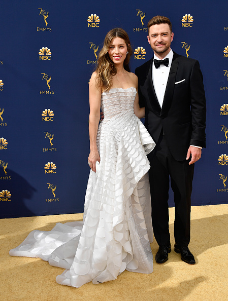 Jessica Biel (L) and Justin Timberlake attend the 70th Emmy Awards at Microsoft Theater on September 17, 2018 in Los Angeles, California. (Photo by Frazer Harrison/Getty Images)