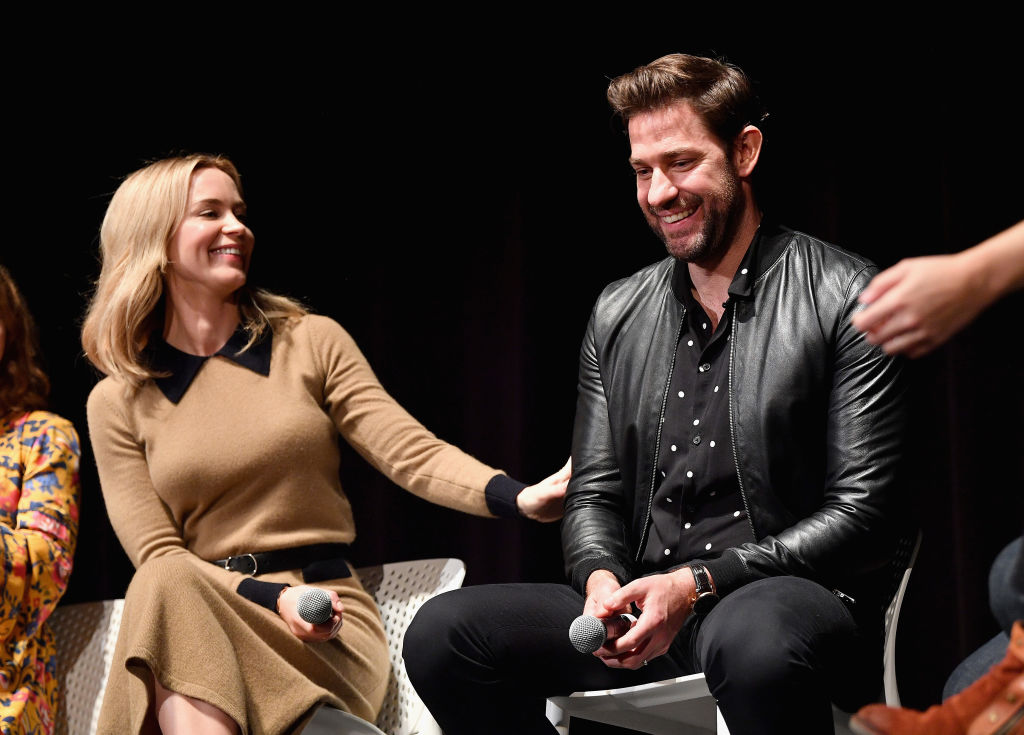"Actors Emily Blunt and John Kransinski speak onstage during the ""A Quiet Place"" Q&A at 21st SCAD Savannah Film Festival on October 27, 2018 in Savannah, Georgia. (Photo by Dia Dipasupil/Getty Images for SCAD)"