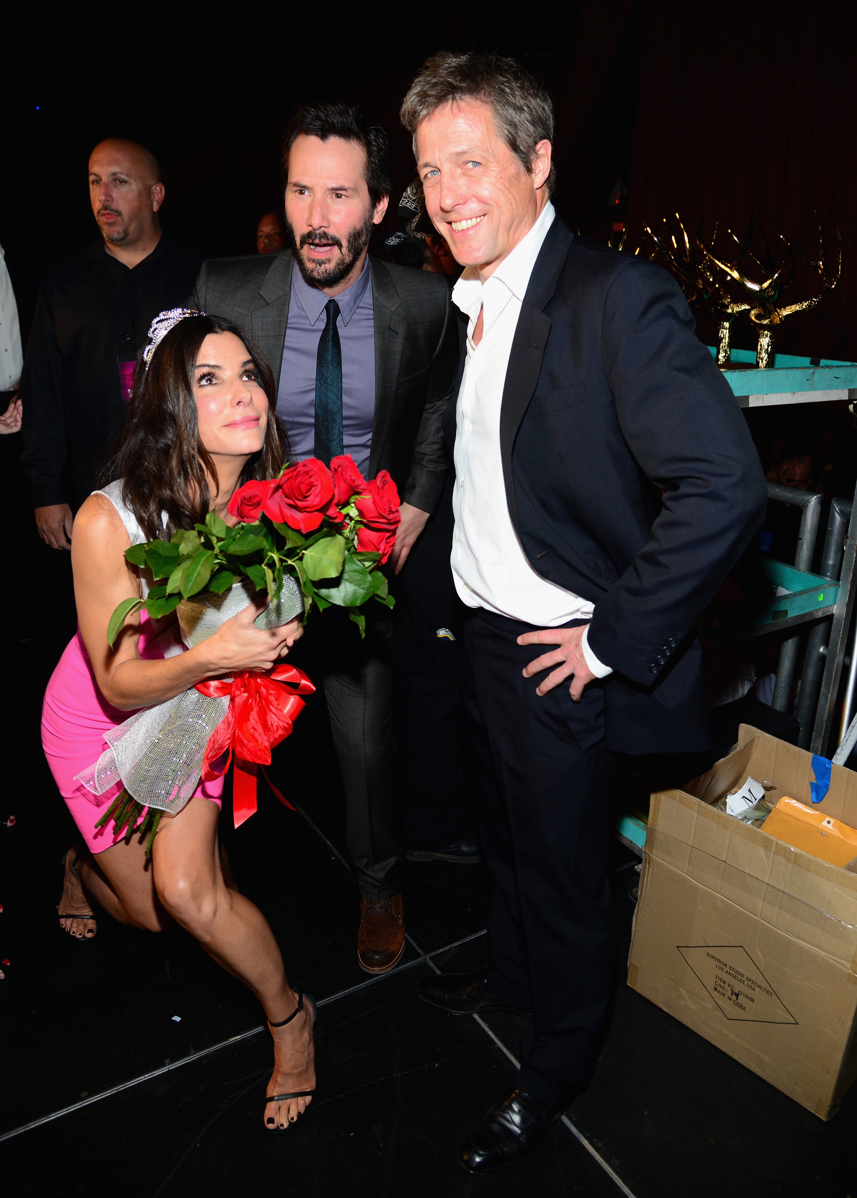 Actors Sandra Bullock, Keanu Reeves and Hugh Grant attend Spike TV's 'Guys Choice 2014' at Sony Pictures Studios on June 7, 2014, in Culver City, California. (Getty Images)