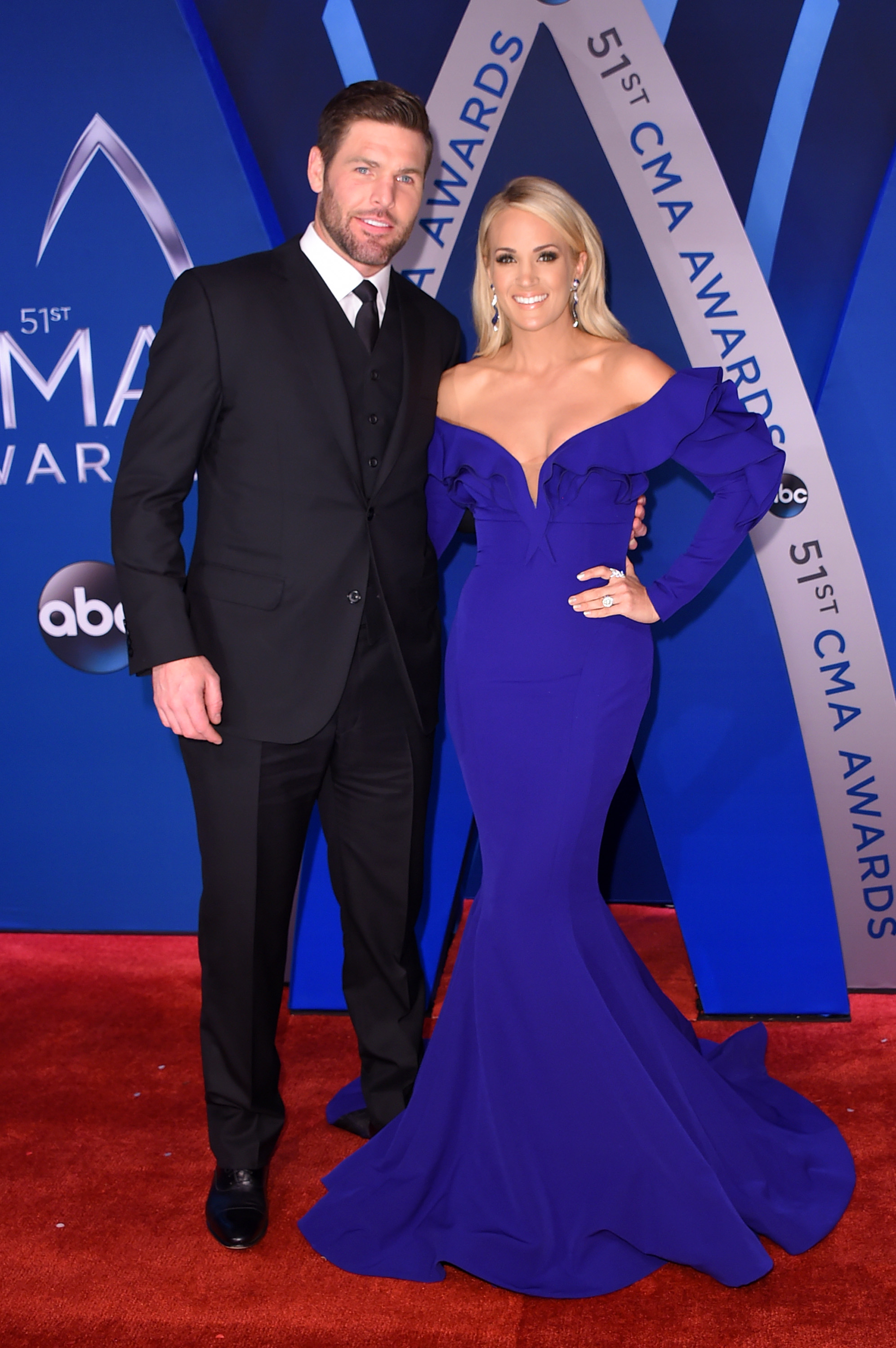 NHL player Mike Fisher and singer-songwriter Carrie Underwood attend the 51st annual CMA Awards at the Bridgestone Arena on November 8, 2017, in Nashville, Tennessee. (Getty Images)