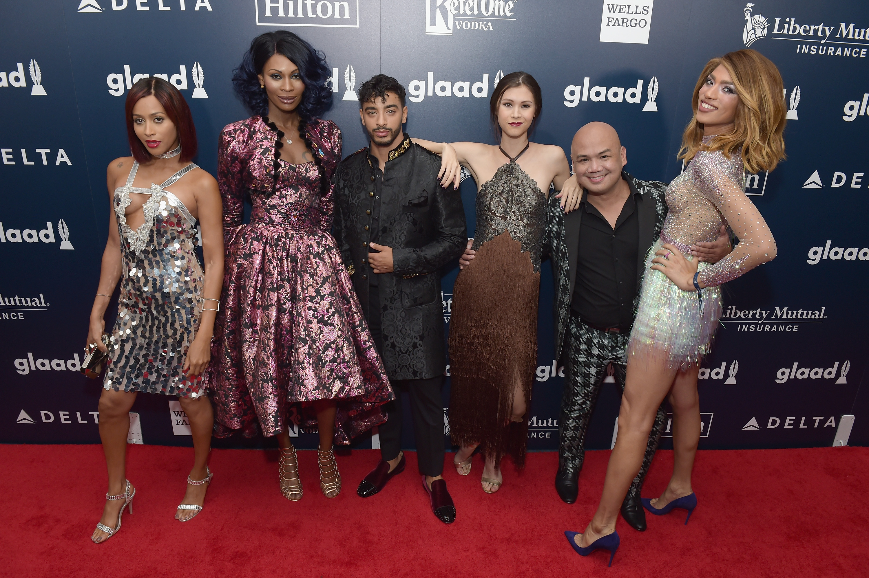 Nominees Isis King, Dominque Jackson, Laith De La Cruz, Ren Spriggs, Cecilio 'CeCe' Asuncion and Arisce Wanzer attends 28th Annual GLAAD Media Awards at The Hilton Midtown on May 6, 2017 in New York City.