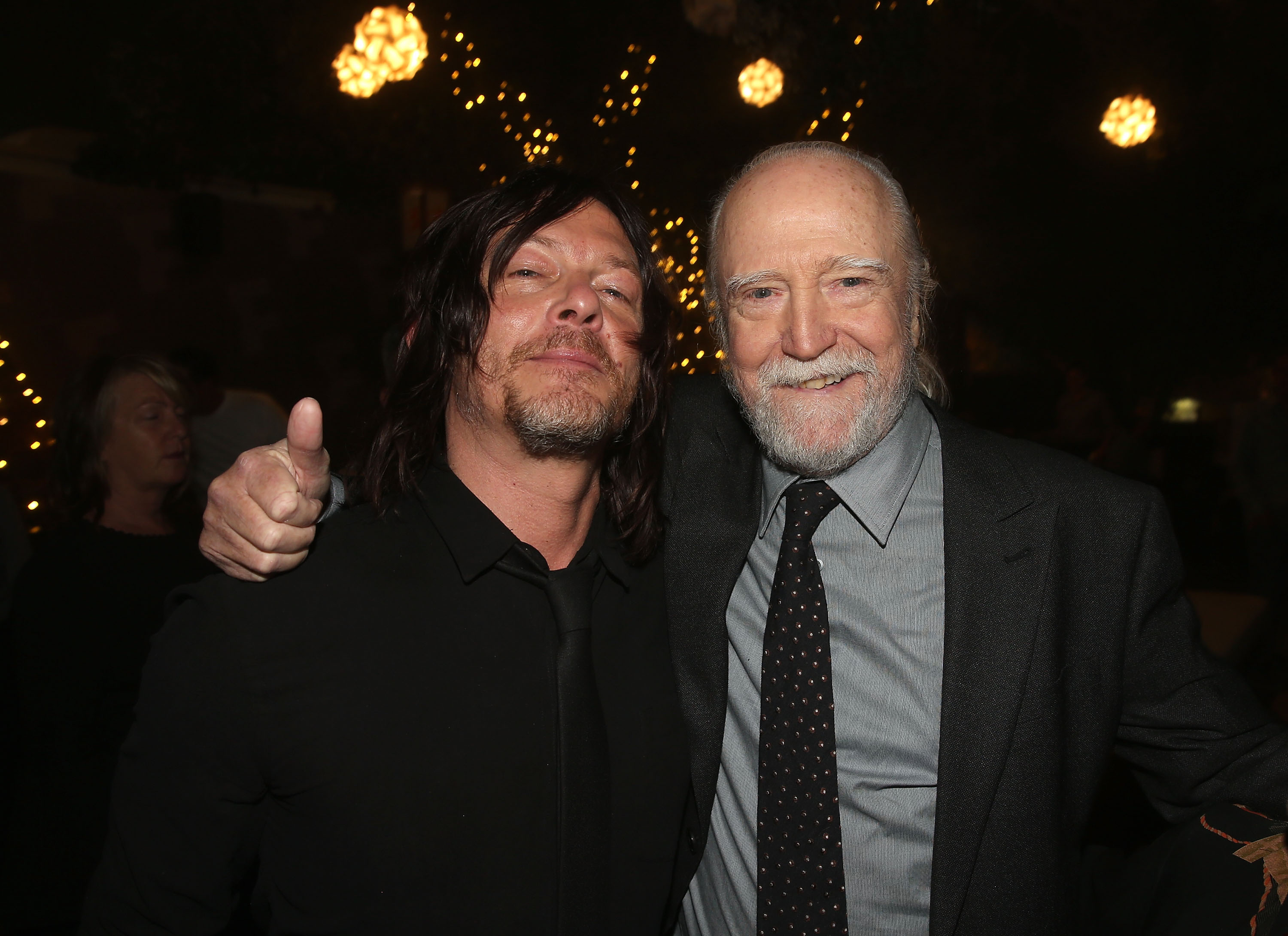 Norman Reedus (L) and Scott Wilson attend The Walking Dead 100th Episode Premiere and Party on October 22, 2017 in Los Angeles, California. (Getty Images)