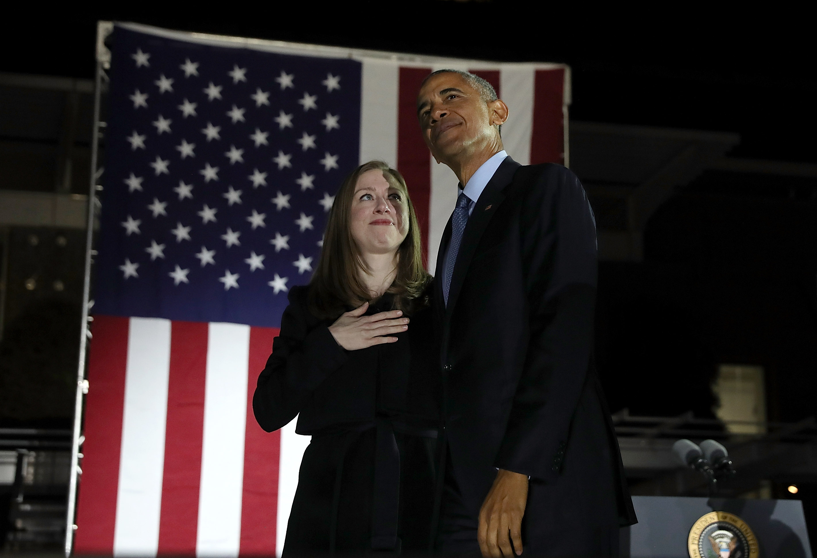 Chelsea Clinton and U.S. President Barack Obama greet supporters during a campaign rally with Democratic presidential nominee former Secretary of State Hillary Clinton on November 7, 2016, in Philadelphia Pennsylvania. (Getty Images)