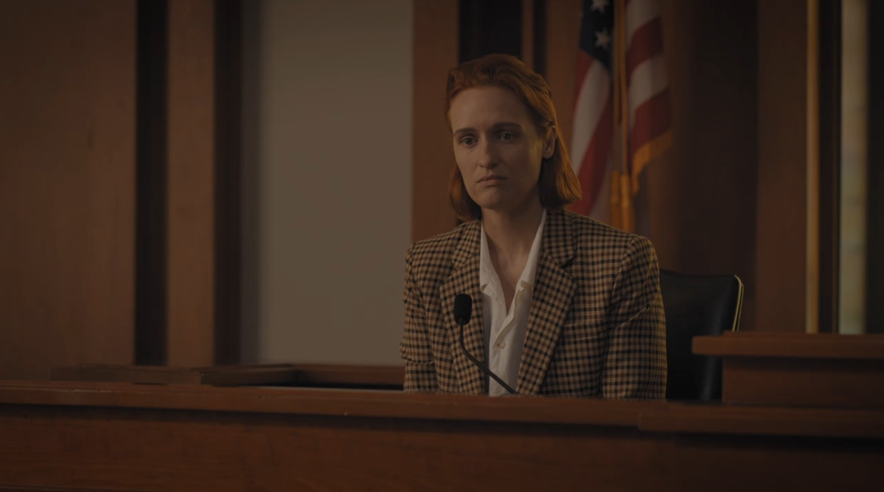 Lou Linklater (Breeda Wool) takes the witness stand in the trial of the century. A still from the season finale of Mr. Mercedes. (Image Source: Audience Network)
