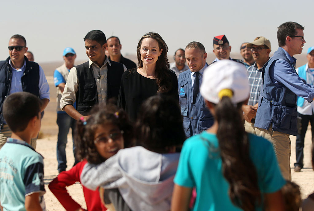 US actress and UNHCR special envoy and Goodwill Ambassador Angelina Jolie holds a press conference at Al- Azraq camp for Syrian refugees on September 9, 2016, in Azraq, Jordan. Jolie arrived at the camp and visited syrian families before speaking to the media. (Getty Images)