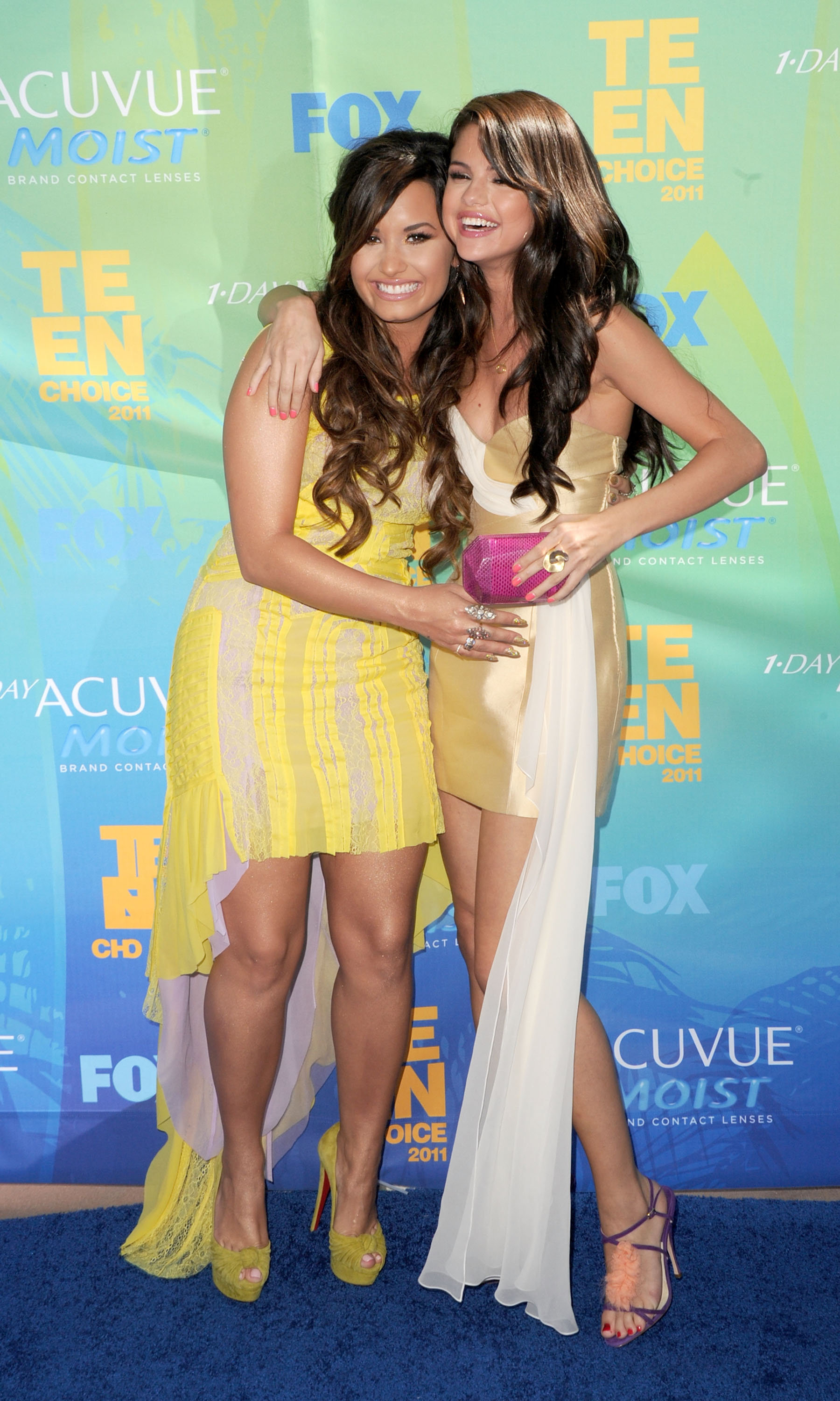Actresses/singers Demi Lovato and Selena Gomez arrive at the 2011 Teen Choice Awards back when they were still close friends (Getty Images)