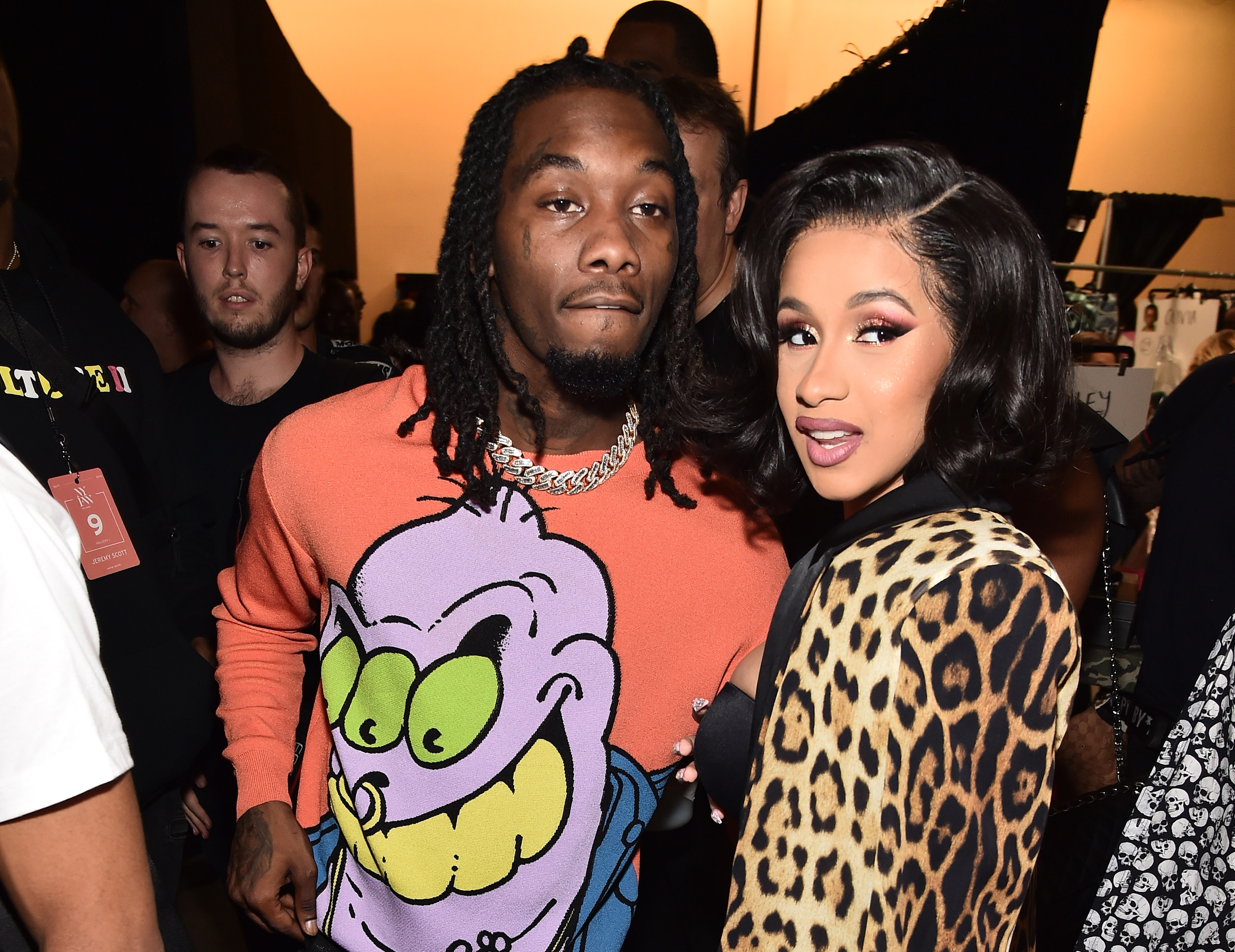 Offset and Cardi B pose backstage at the Jeremy Scott show during New York Fashion Week on September 6, 2018, in New York City. (Getty Images)