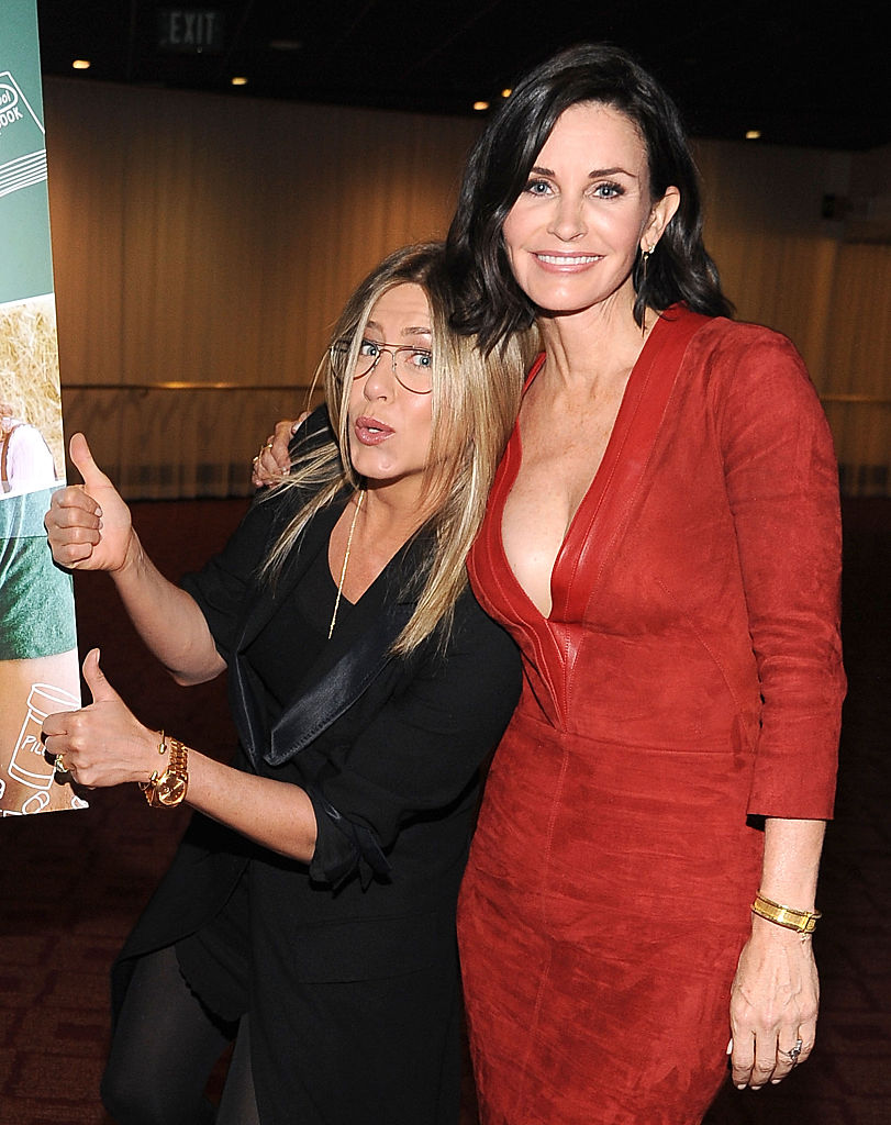 Actress Jennifer Aniston and director Courteney Cox attend the Los Angeles Special Screening of 'Just Before I Go' at ArcLight Hollywood on April 20, 2015, in Hollywood, California. (Photo by Angela Weiss/Getty Images)