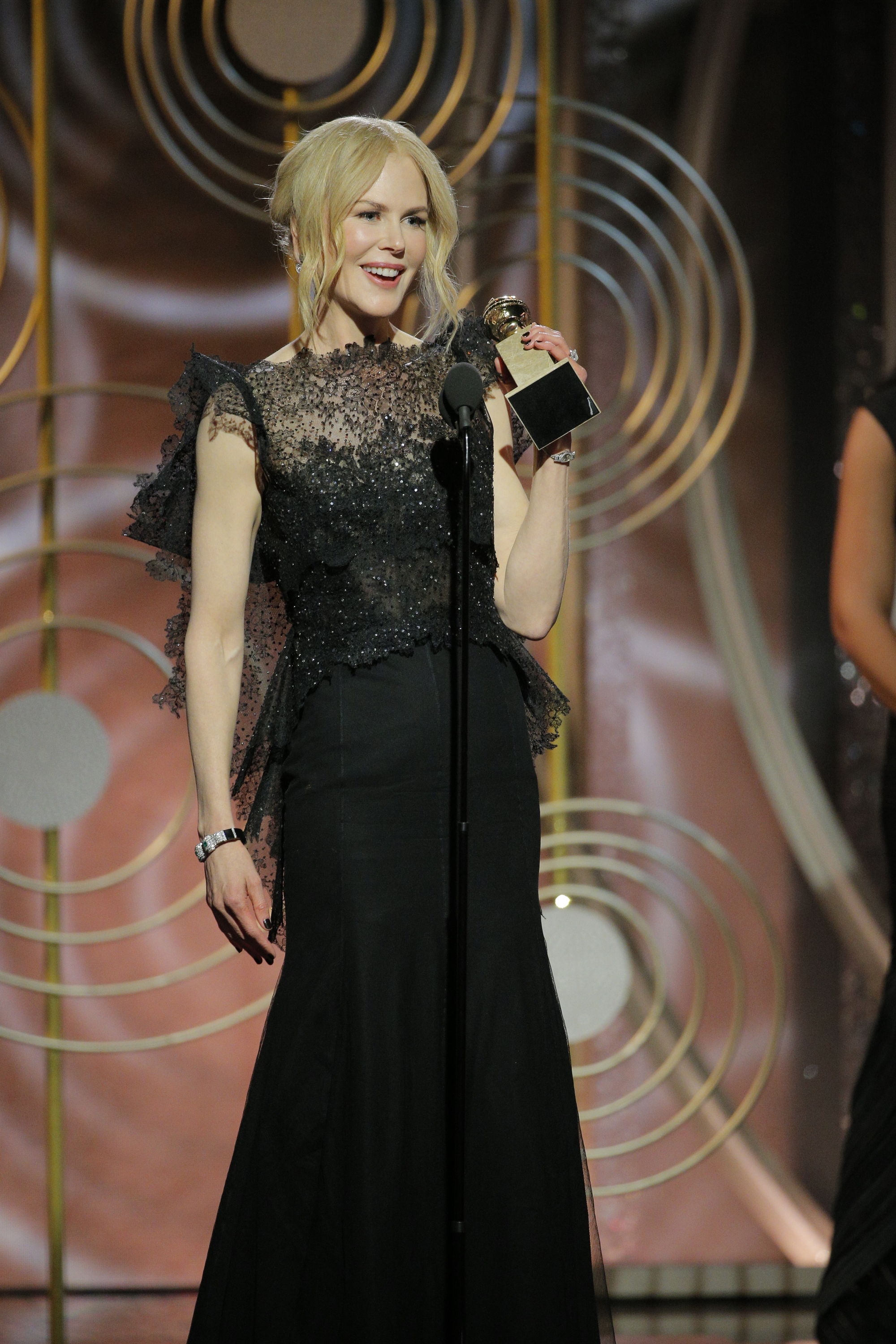 In this handout photo provided by NBCUniversal, Nicole Kidman accepts the award for Best Performance by an Actress in a Limited Series or Motion Picture Made for Television for 'Big Little Lies' speaks onstage during the 75th Annual Golden Globe Awards at The Beverly Hilton Hotel on January 7, 2018 in Beverly Hills, California.