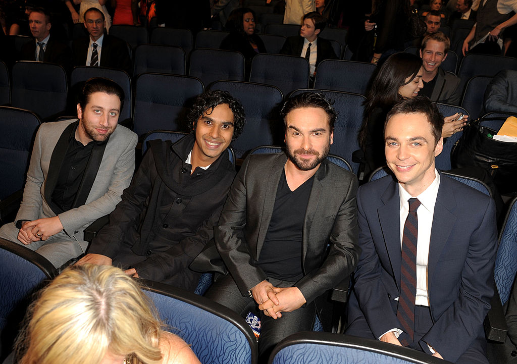 (L-R) Actors Simon Helberg, Kunal Nayyar, Johnny Galecki, and Jim Parsons during the People's Choice Awards 2010 held at Nokia Theatre L.A. Live on January 6, 2010 in Los Angeles, California. (Photo by Kevin Winter/Getty Images for PCA)