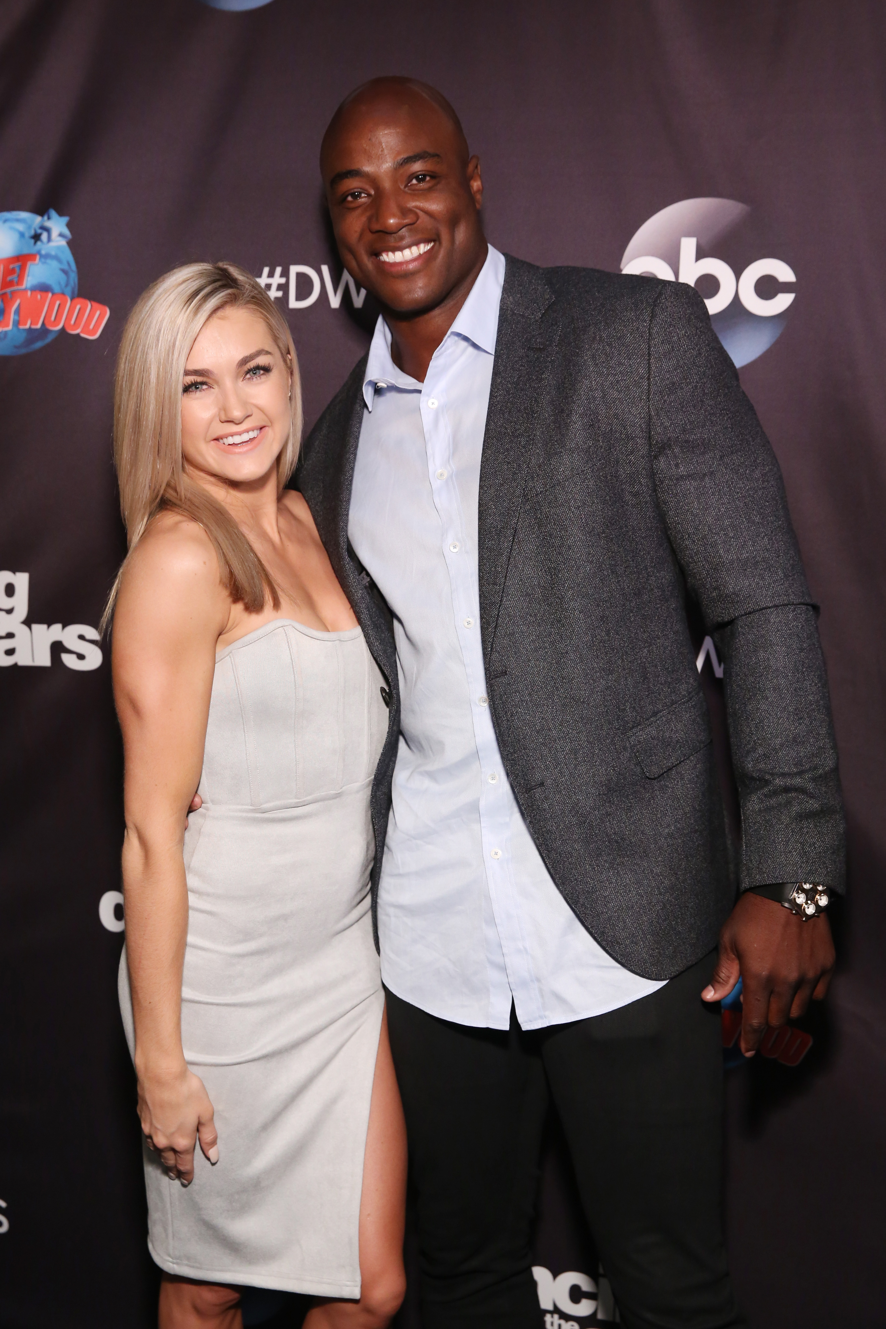 Lindsay Arnold and DeMarcus Ware attend Dancing With The Stars Season 27 Cast Reveal Red Carpet At Planet Hollywood Times Square at Planet Hollywood Times Square on September 12, 2018 in New York City.