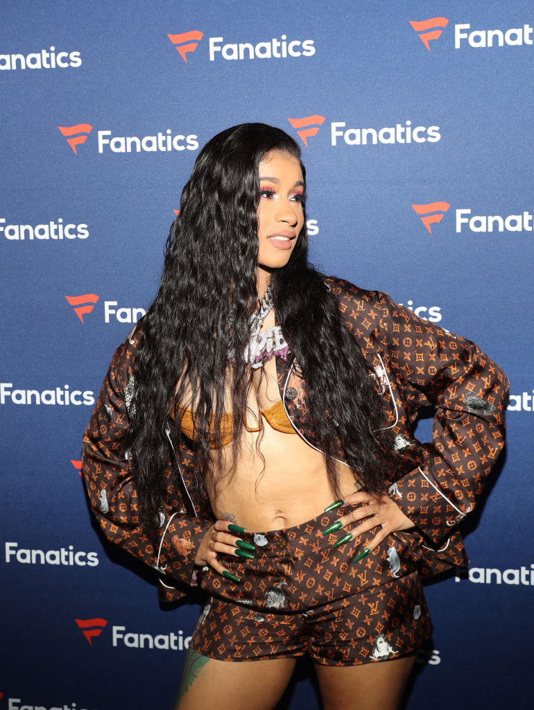 Cardi B arrives at the Fanatics Super Bowl Party at College Football Hall of Fame on January 5, 2019 in Atlanta, Georgia. (Photo by Tasos Katopodis/Getty Images for Fanatics)