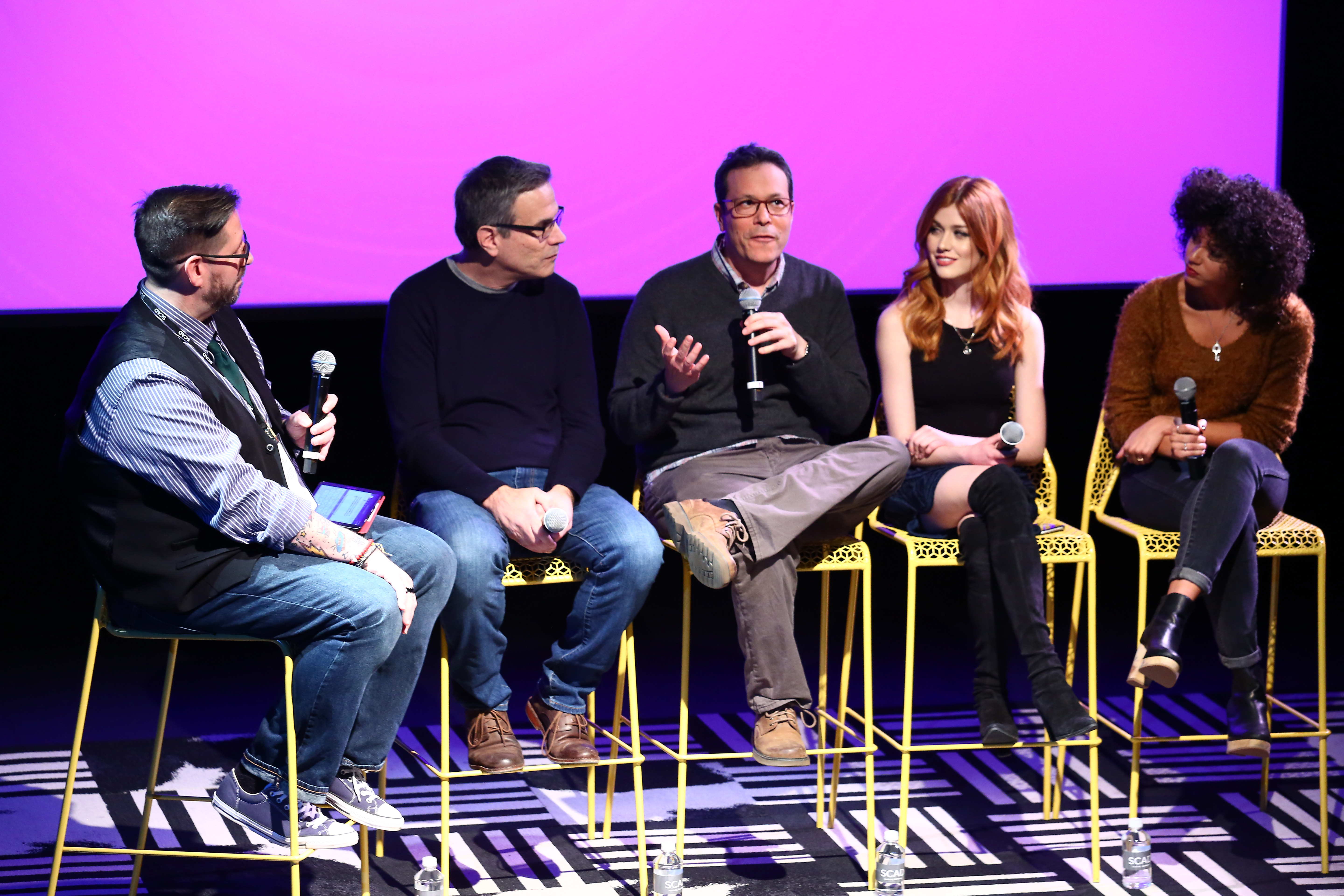 (L-R) Moderator Damian Holbrook, Executive producers Darren Swimmer and Todd Slavkin, and actresses Katherine McNamara and Alisha Wainwright speak on stage during Q&A session for 'Shadowhunters' on Day Three of aTVfest 2017 presented by SCAD at SCADshow Mainstage on February 4, 2017 in Atlanta, Georgia. (Photo by Astrid Stawiarz/Getty Images for SCAD)