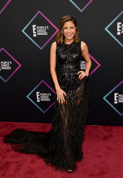 Everything about this dress was absolutely on point - from the feathers to the sheer and the sequins, a gown like this screams red carpet fashion - don't miss the laugh! Erin Lim, well done! (Photo by Matt Winkelmeyer/Getty Images)