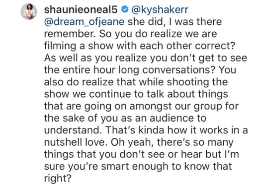 Shaunie O'Neal responds to her critics that are calling her a hypocrite. (Instagram)