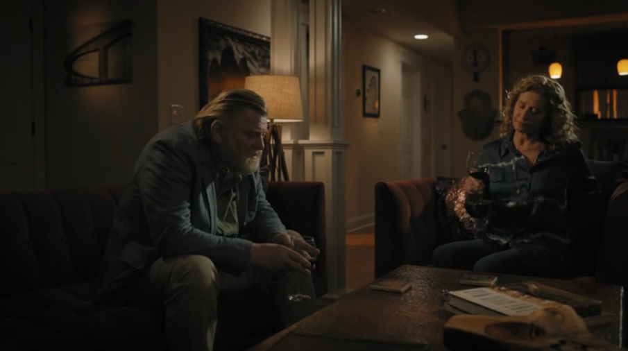 Bill Hodges (Brendon Gleeson) and his ex-wife Donna Hodges (Nancy Travis) share an intimate moment in the new episode of Mr. Mercedes. (Image Source: Audience Network)