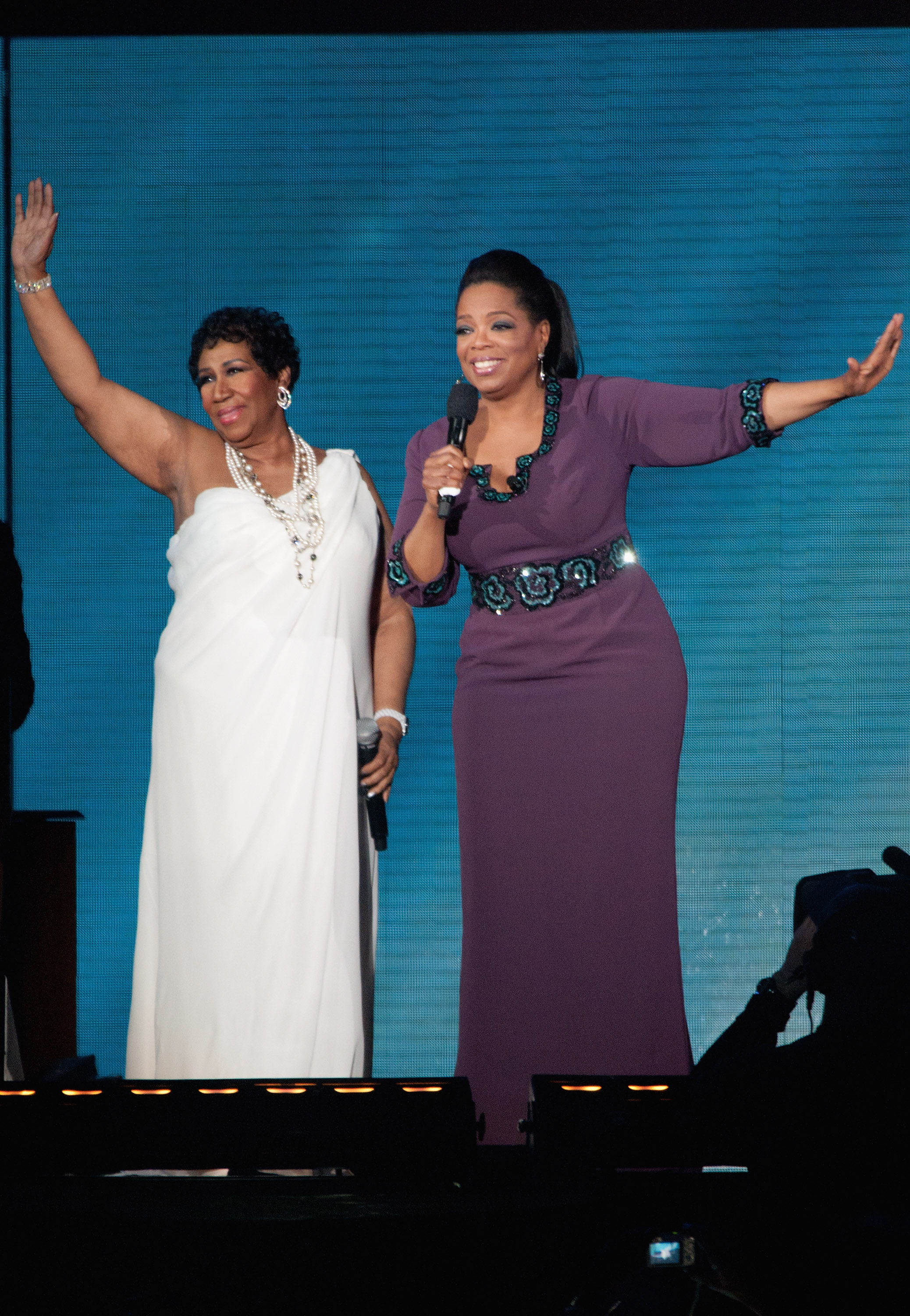 Aretha Franklin and Oprah attend Surprise Oprah! A Farewell Spectacular at the United Center on May 17, 2011 in Chicago, Illinois.