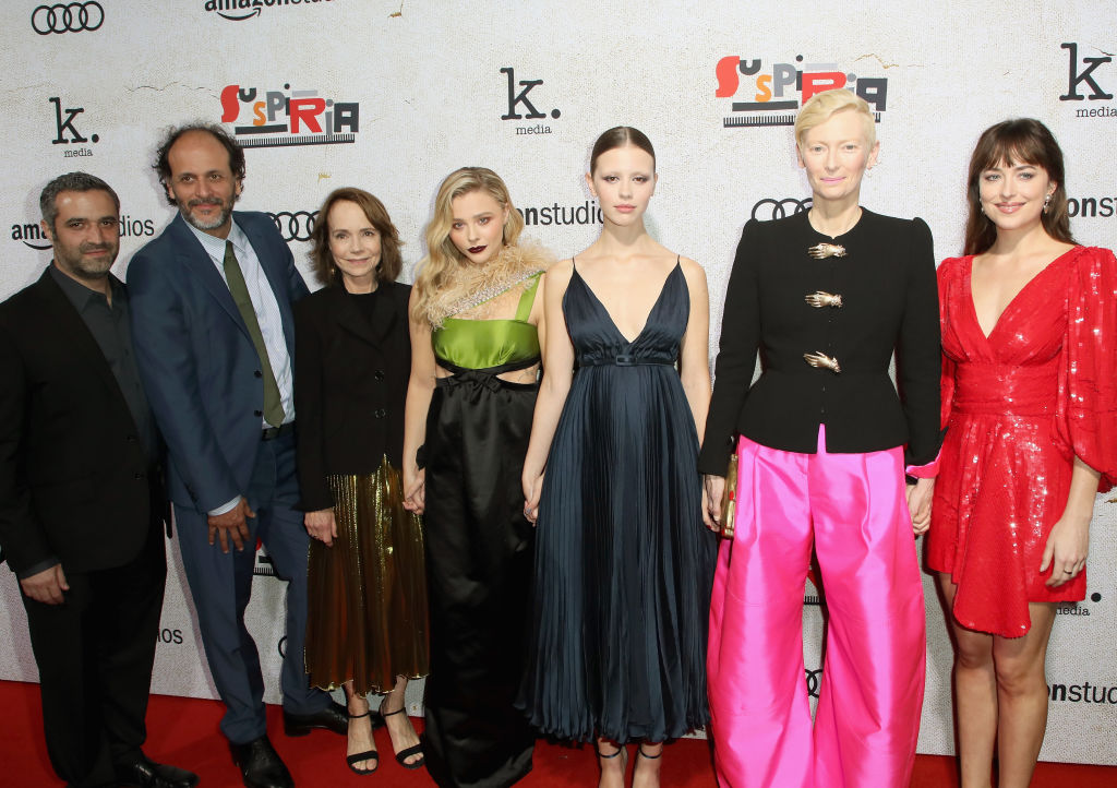 (L-R) Brad Fischer, Luca Guadagnino, Jessica Harper, Chloe Grace Moretz, Mia Goth and Dakota Johnson attend the premiere of Amazon Studios 'Suspiria' at ArcLight Cinerama Dome on October 24, 2018 in Hollywood, California. (Photo by David Livingston/Getty Images)
