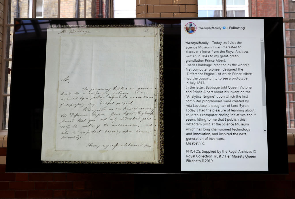 The first Instagram post by Britain's Queen Elizabeth II is displayed alongside a letter to Prince Albert from the Royal Archives, written in 1843, during her visit to the Science Museum on March 07, 2019 in London, England. (Photo by Simon Dawson/WPA Pool/Getty Images)