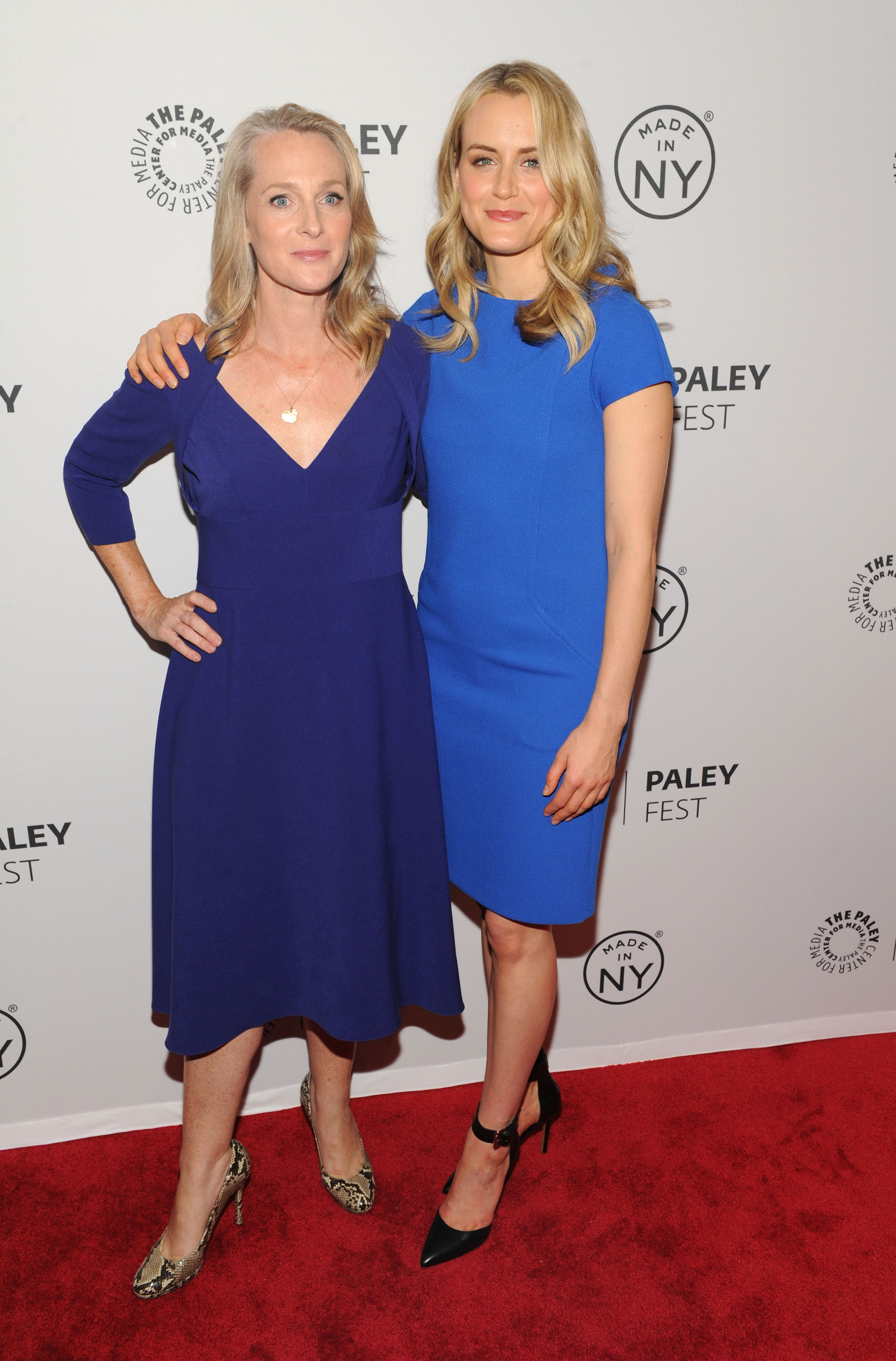 Piper Kerman and Taylor Schilling (R) attend 'Orange Is the New Black' during 2013 PaleyFest: Made In New York at The Paley Center for Media on October 2, 2013 in New York City.