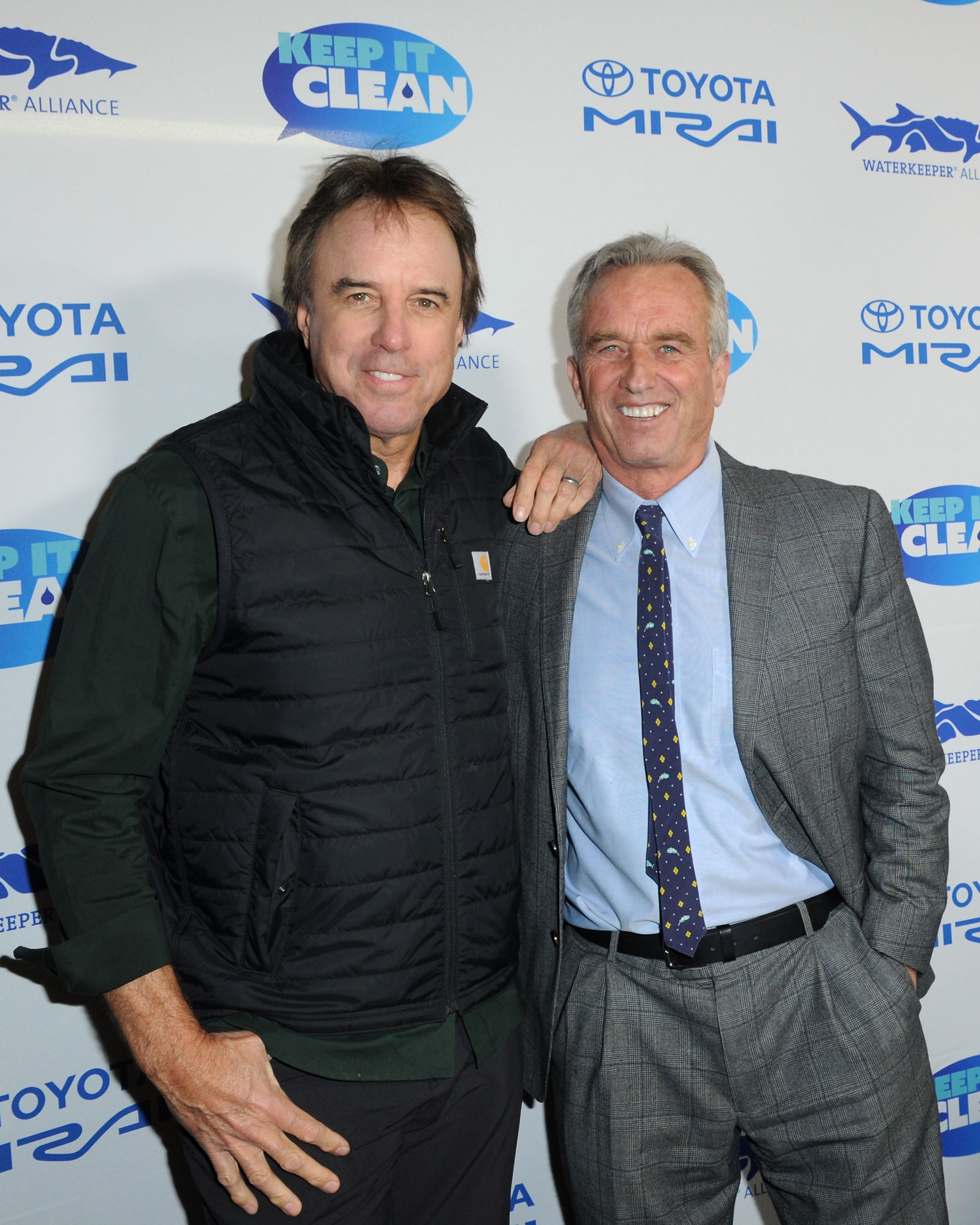 Kevin Nealon (L) and Robert F. Kennedy Jr. attend Keep It Clean Live Comedy To Benefit Waterkeeper Alliance on February 21, 2019 in Los Angeles, California. (Photo by Joshua Blanchard/Getty Images)