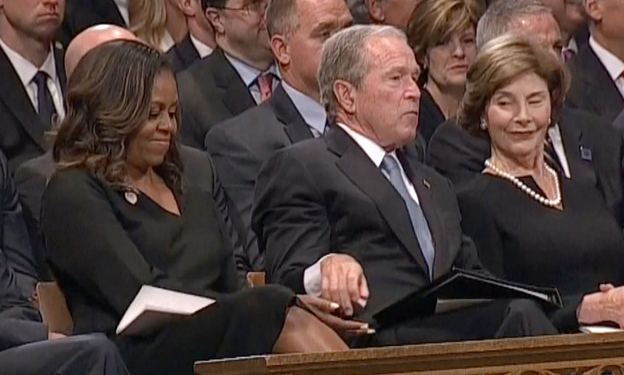 Bush and Michelle (Source: Twitter/@bredmondFanpage)