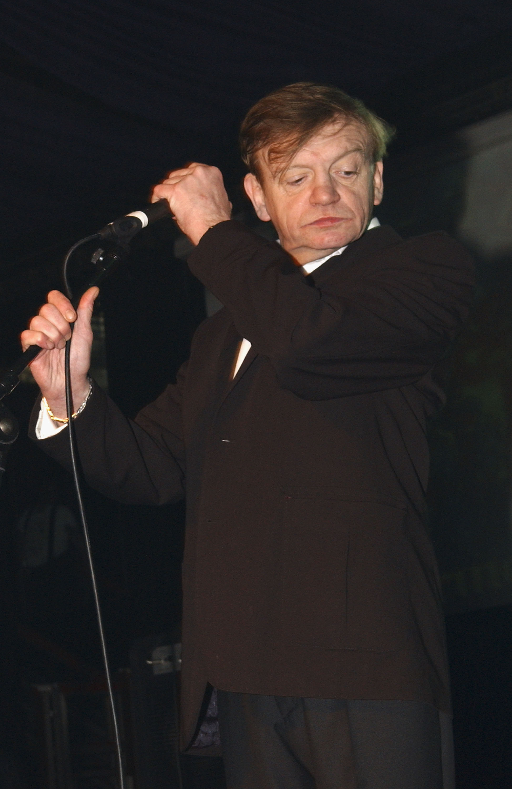 Mark E Smith of The Fall performs at the Hammersmith Palais on April 1, 2007 in London. This was the last scheduled concert at the historic West London venue, immortalised by The Clash song 'White Man In Hammersmith Palais', as it closes to make way for a restaurant and office block.