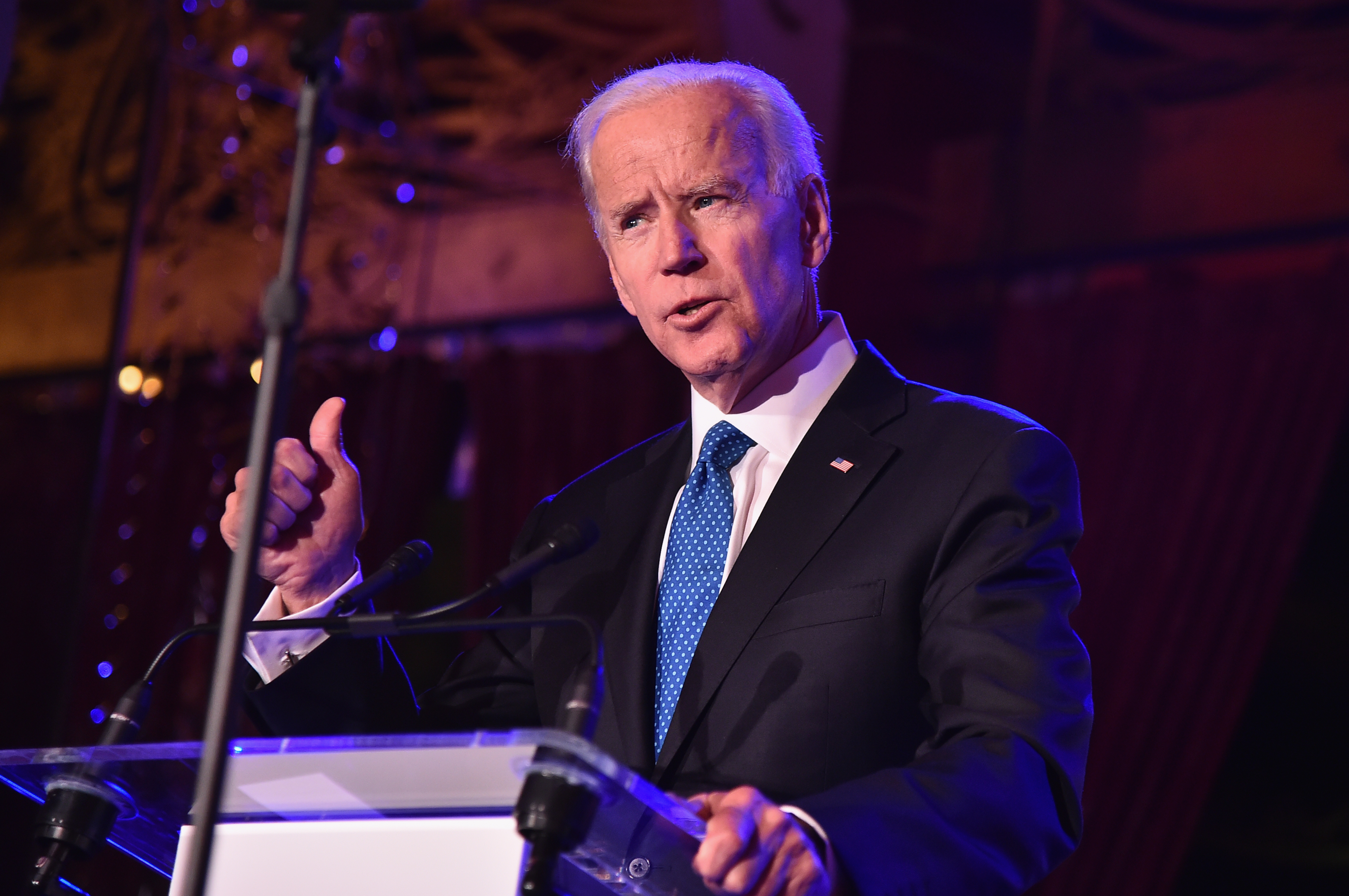 Former U.S. Vice President Joe Biden speaks onstage at the Biden Courage Awards Presented by It's On Us at the Russian Tea Room on April 18, 2018 in New York City. (Getty Images)