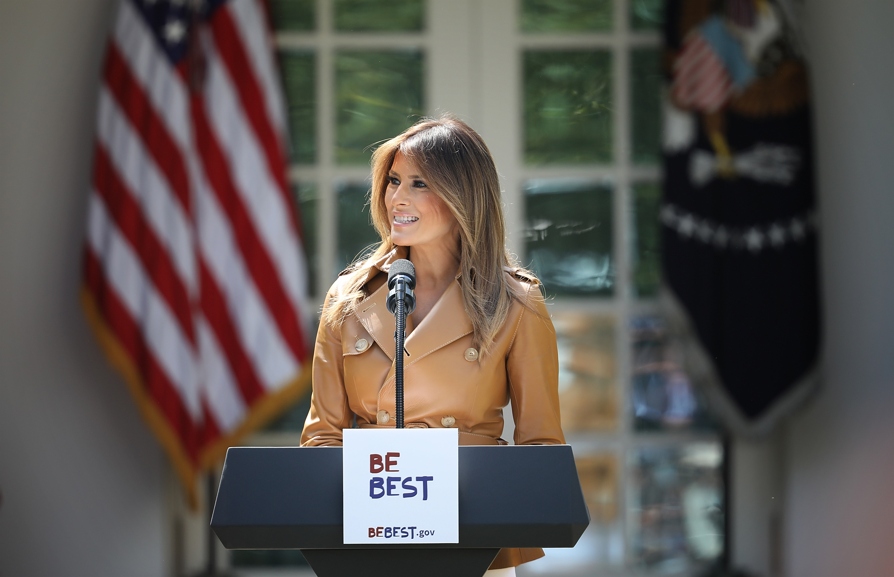U.S. First Lady Melania Trump speaks in the Rose Garden of the White House May 7, 2018, in Washington, DC. Trump outlined her new initiatives, known as the Be Best program, during the event