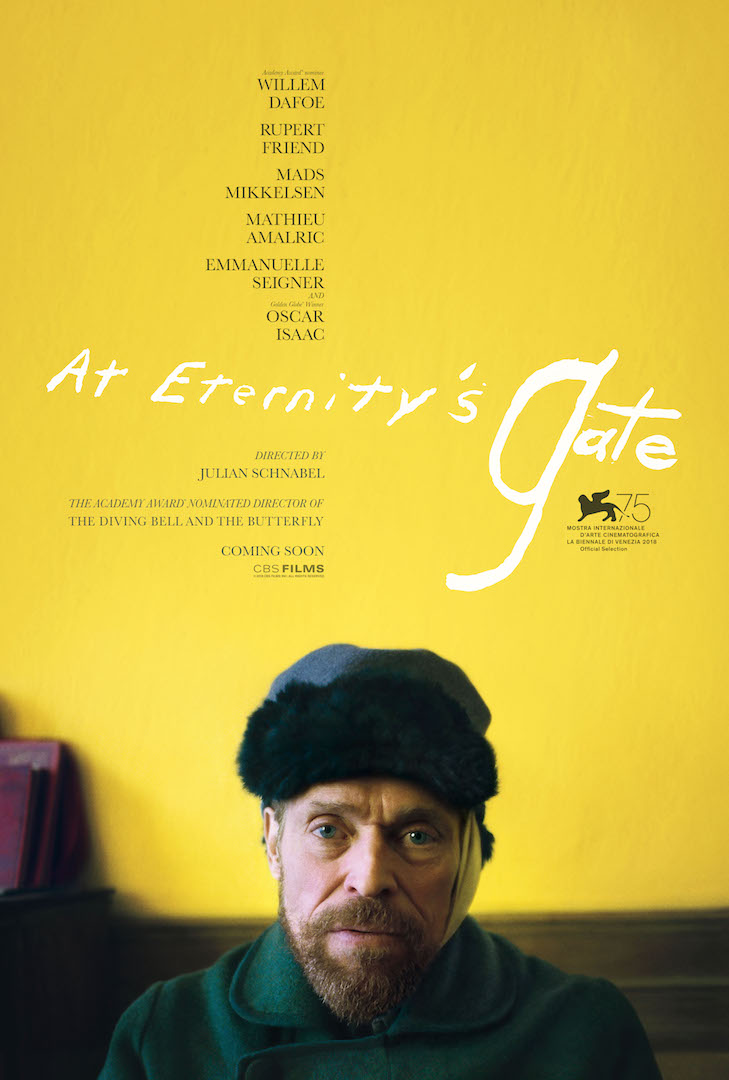 Official poster for 'At Eternity's Gate' starring Willem Dafoe as Vincent Van Gogh. (Image Source: CBS Films)