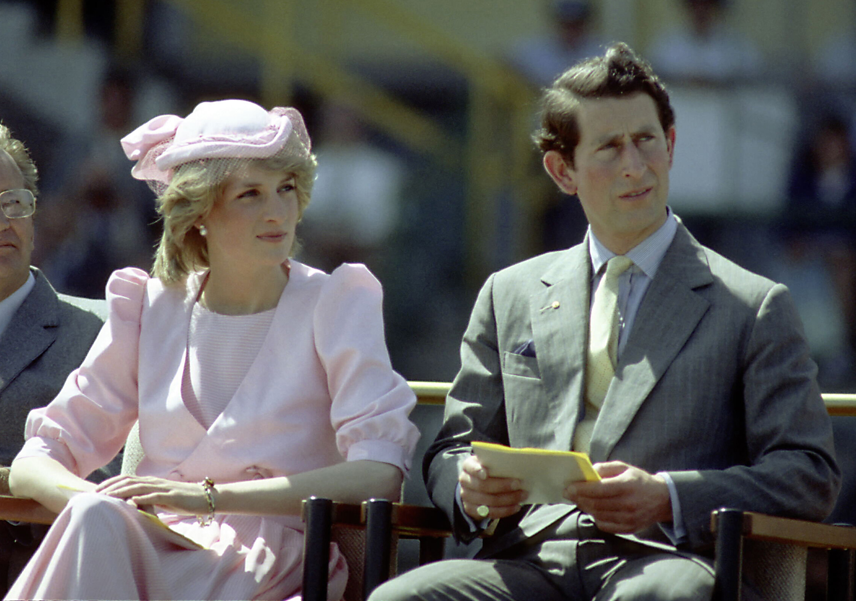 Princess Diana And Prince Charles watch an official event during their first royal Australian tour 1983 IN Newcastle, Austrlia. (Photo by Patrick Riviere/Getty Images)