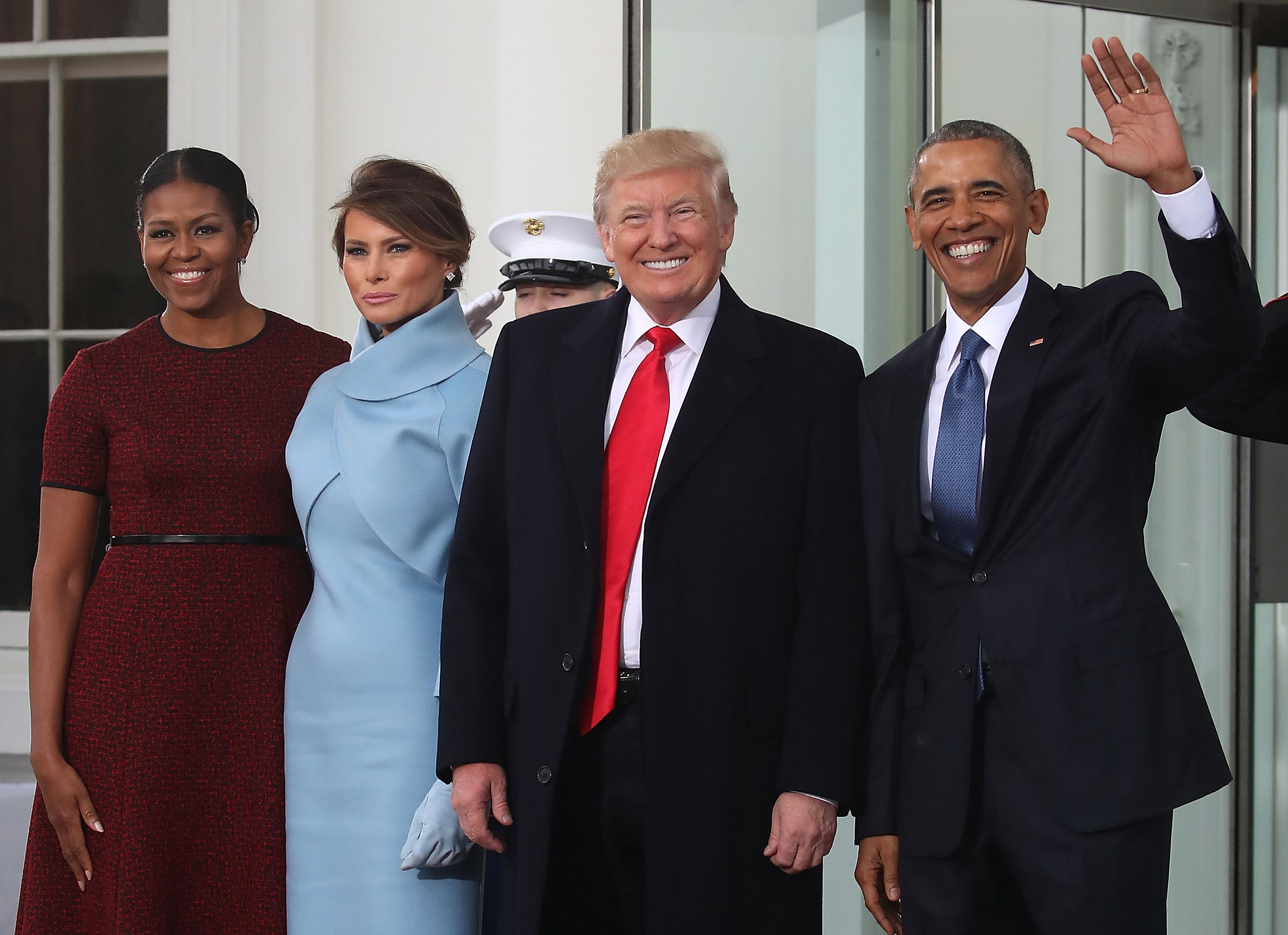 President-elect Donald Trump (2ndR) and his wife Melania Trump (2ndL), are greeted by President Barack Obama and his wife first lady Michelle Obama, upon arriving at the White House on January 20, 2017 in Washington, DC. Later in the morning President-elect Trump will be sworn in as the nation's 45th president during an inaugural ceremony at the U.S. Capitol. (Getty Images)