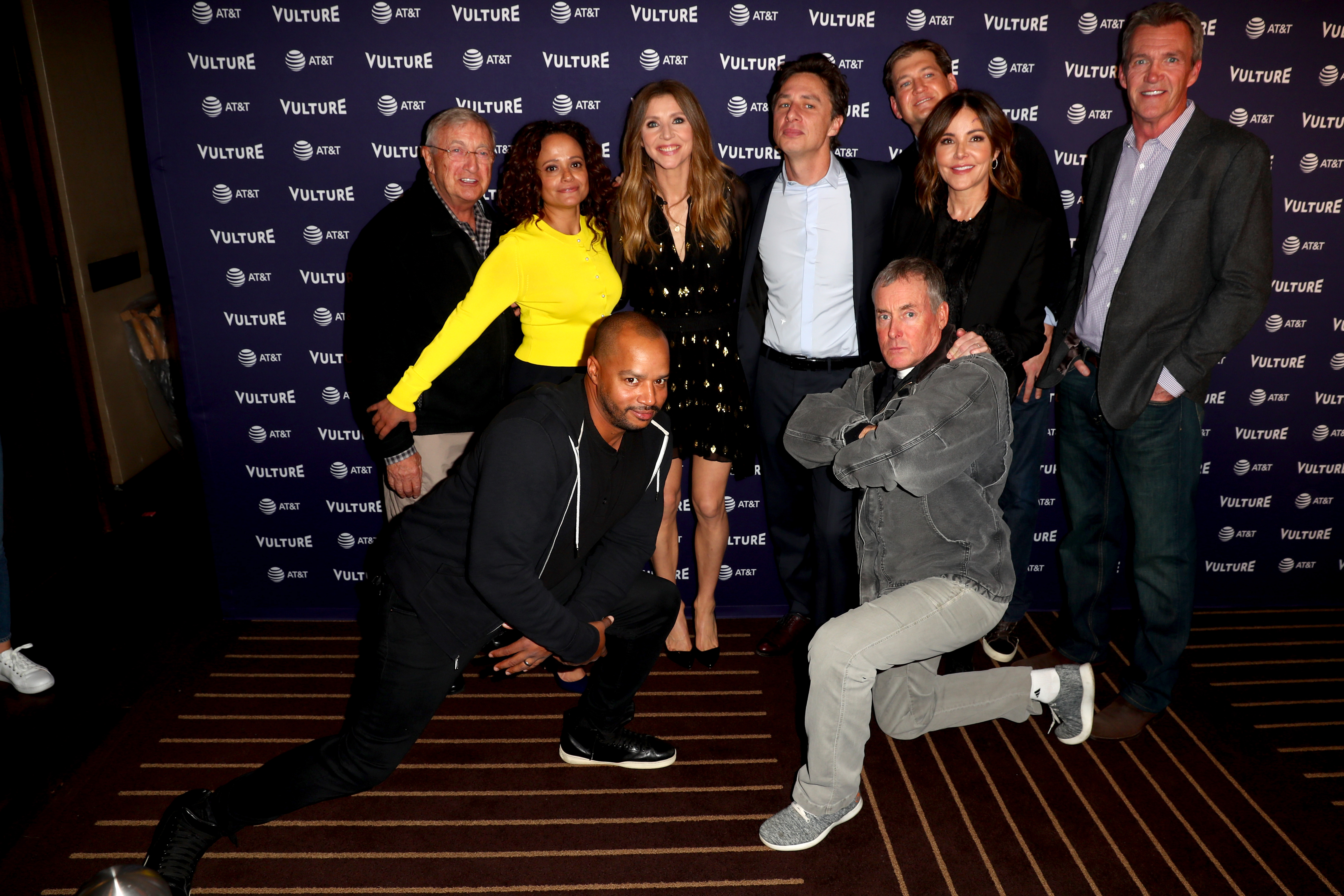 Ken Jenkins, Judy Reyes, Sarah Chalke, Zach Braff, Bill Lawrence, Christa Miller, Neil Flynn, Donald Faison and John C. McGinley attend 'Scrubs Reunion' during Vulture Festival presented by AT&T at Hollywood Roosevelt Hotel on November 17, 2018 in Hollywood, California. (Photo by Joe Scarnici/Getty Images for New York Magazine)