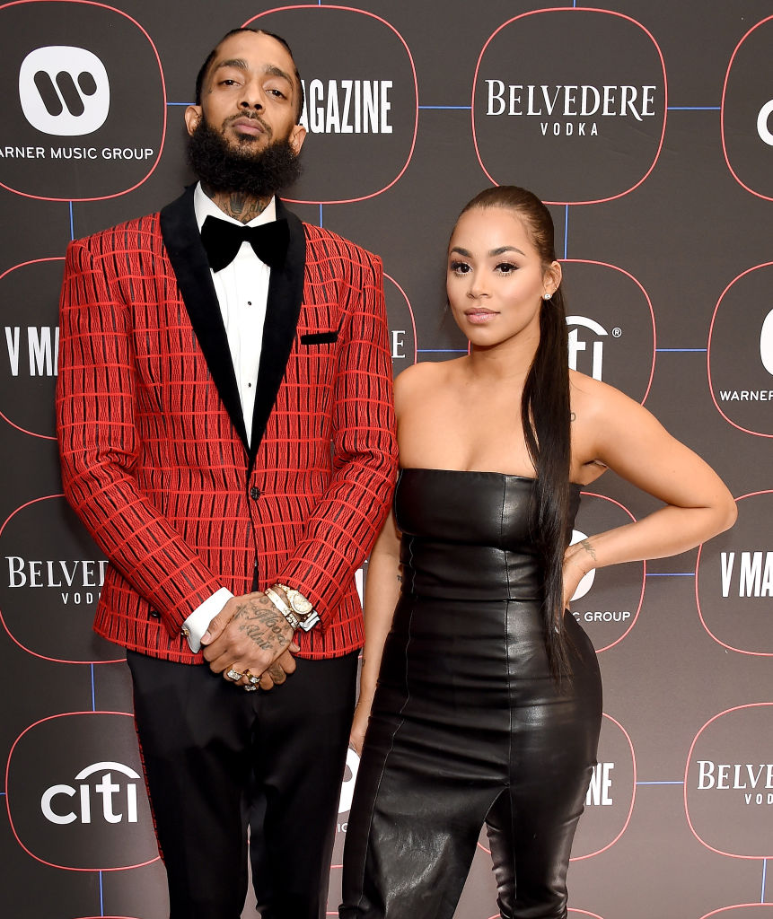 Nipsey Hussle and Lauren London at the Warner Music Group Pre-Grammy Celebration at Nomad Hotel, Los Angeles. (Source: Getty Images)