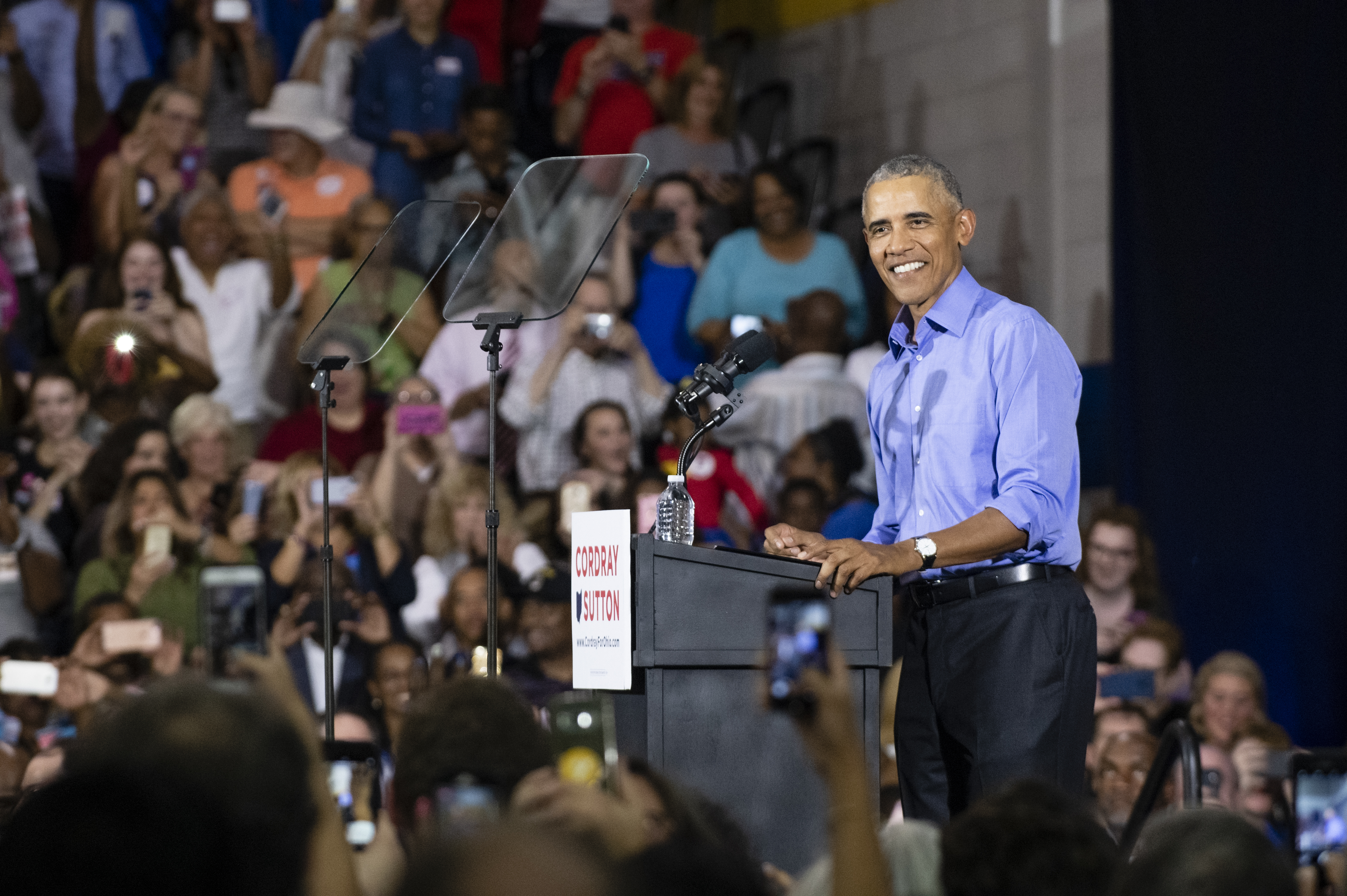 Former President Barack Obama speaks during a campaign rally for Ohio Gubernatorial candidate Richard Cordray at CMSD East Professional Center Gymnasium on September 13, 2018 in Cleveland, Ohio. Cordray, who served under Obama as the director of the Consumer Financial Protection Bureau, is one of the first candidates that Obama is campaigning for.