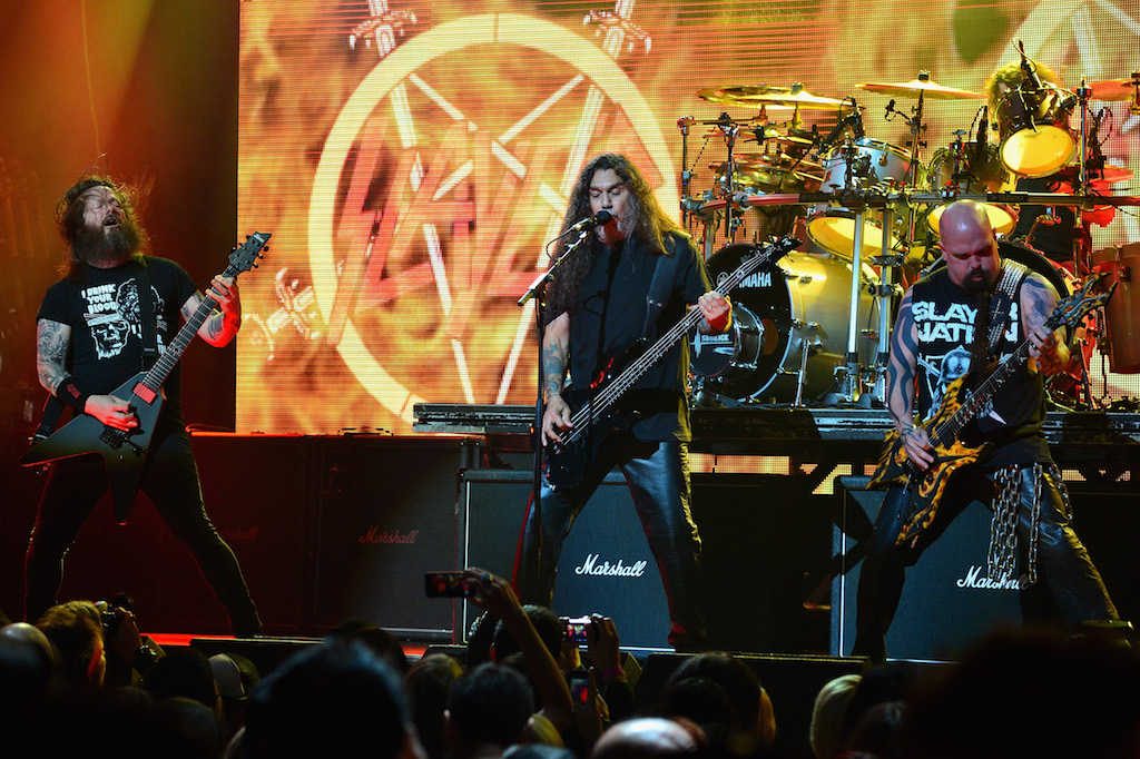Slayer performs onstage at the 2014 Revolver Golden Gods Awards at Club Nokia on April 23, 2014 in Los Angeles, California. (Photo by Frazer Harrison/Getty Images)