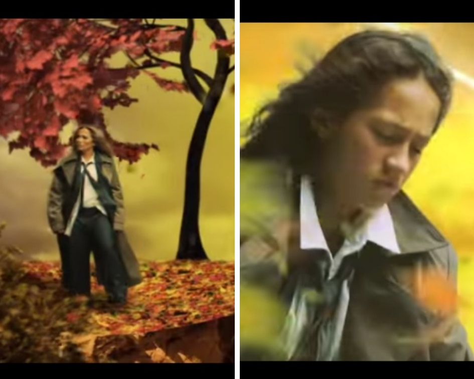 The video opens with a red suit and mirrored sunglass-clad Lopez, and while she tries to climb up a hill littered with leaves, her daughter Emme follows, dressed in a miniature version of her mom's dress. (Source: YouTube)