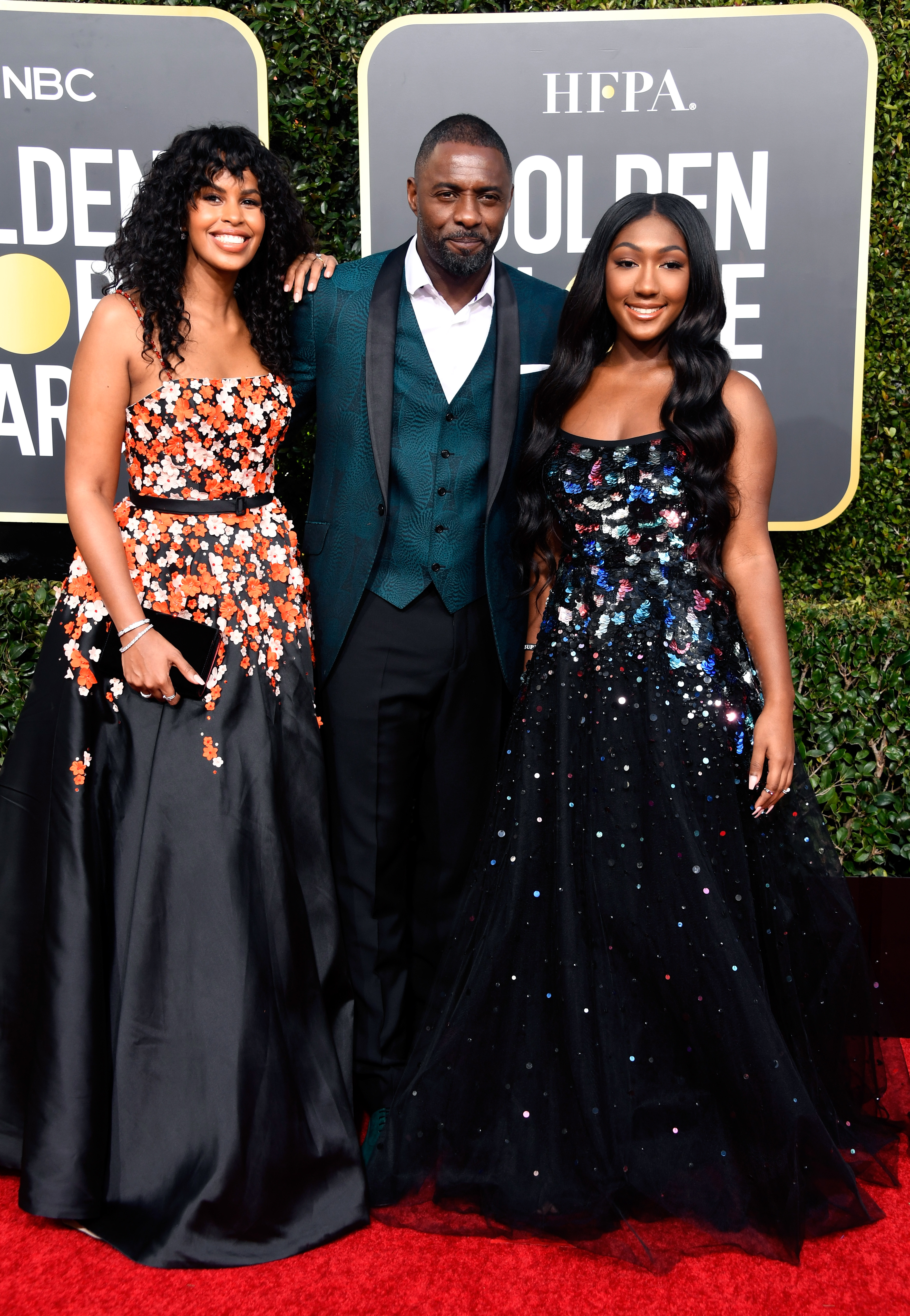 (L-R) Sabrina Dhowr, Idris Elba, and Isan Elba attend the 76th Annual Golden Globe Awards at The Beverly Hilton Hotel on January 6, 2019 in Beverly Hills, California.