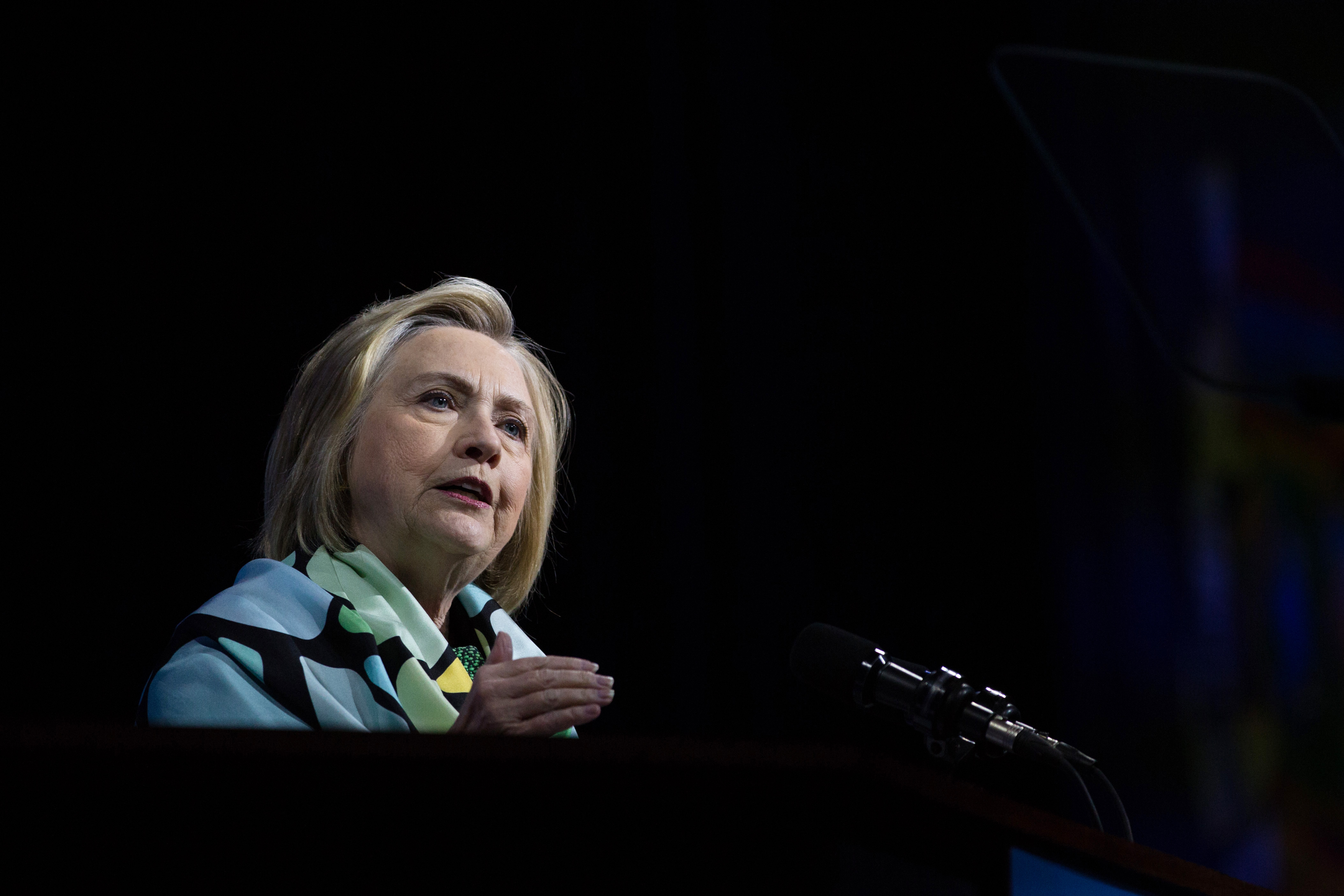Hillary Clinton delivers a speech during the New York Democratic convention at Hofstra University on May 23, 2018 in Hempstead, New York. Clinton attended the event to support Governor Andrew Cuomo's bid for a third term.