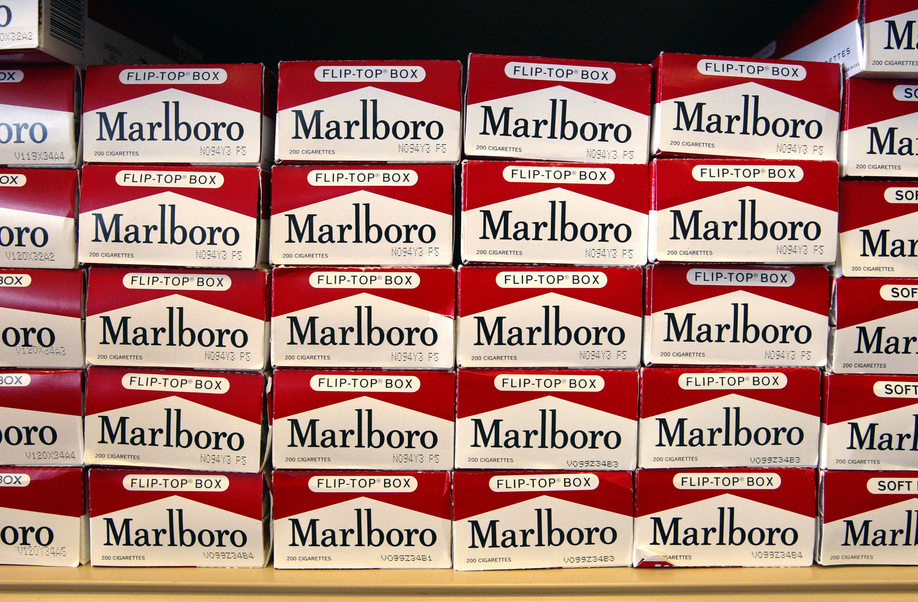 Cartons of Marlboro brand cigarettes are seen inside a Cigarettes Cheaper store on June 13, 2003, in Niles, Illinois. (Getty Images)