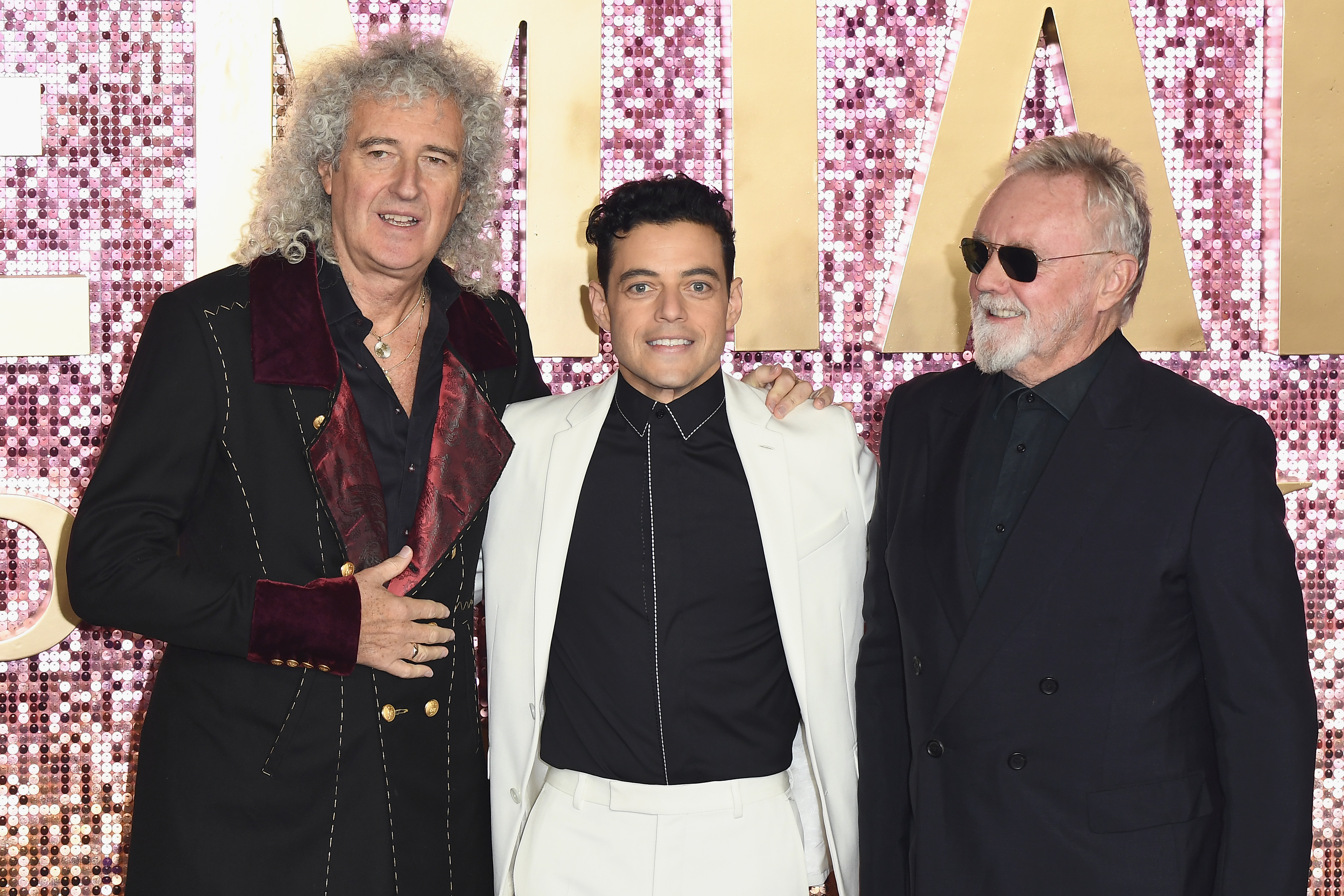 (L-R) Brian May, Rami Malek and Roger Taylor attend the World Premiere of 'Bohemian Rhapsody' at SSE Arena Wembley on October 23, 2018, in London, England. (Getty Images)