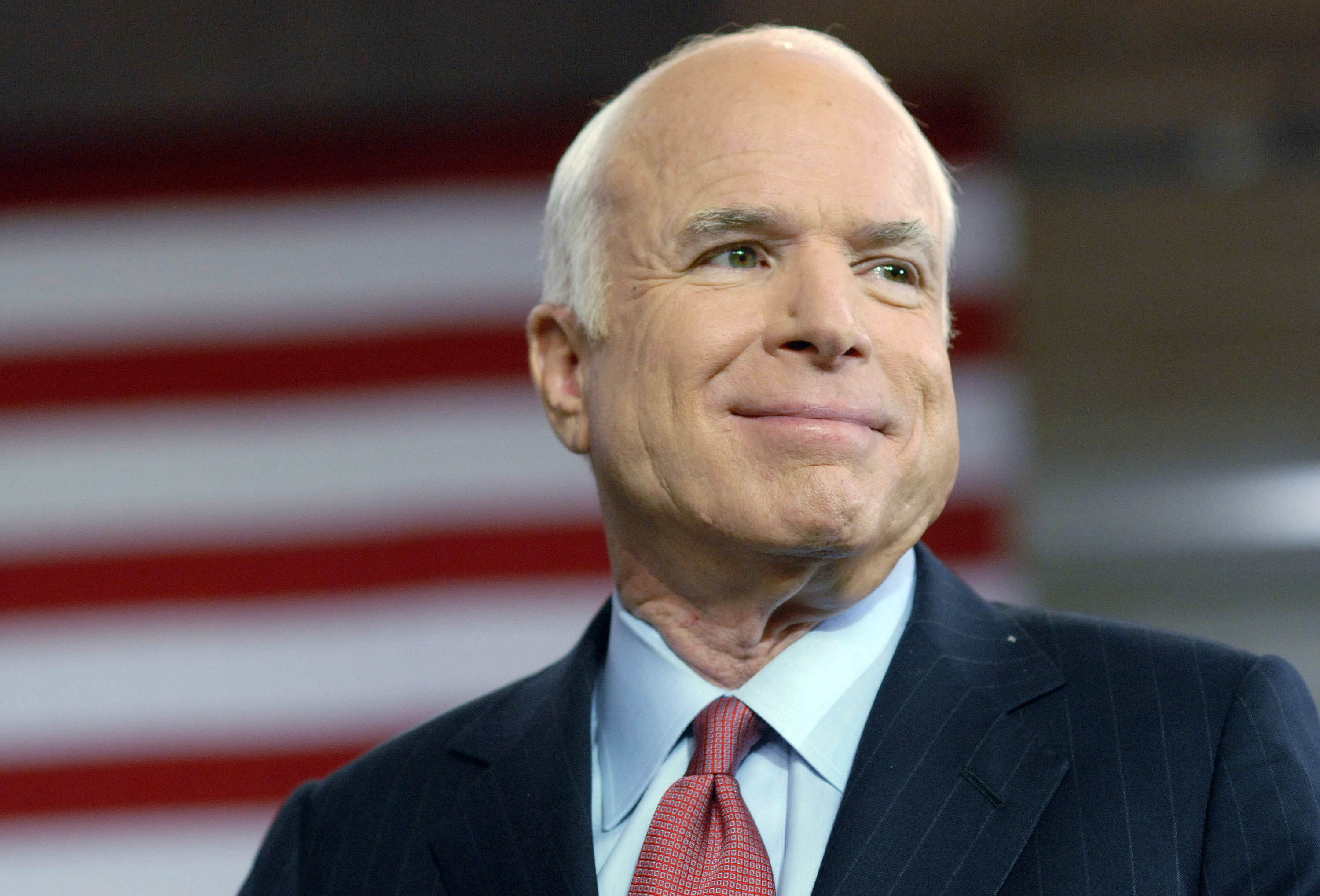 Republican Presidential Candidate Sen. John McCain (R-AZ) speaks at a Town Hall Meeting while on the campaign trail in the Toyota Arena August 12, 2008 in York, Pennsylvania. Over one thousand people attended the Town Hall.