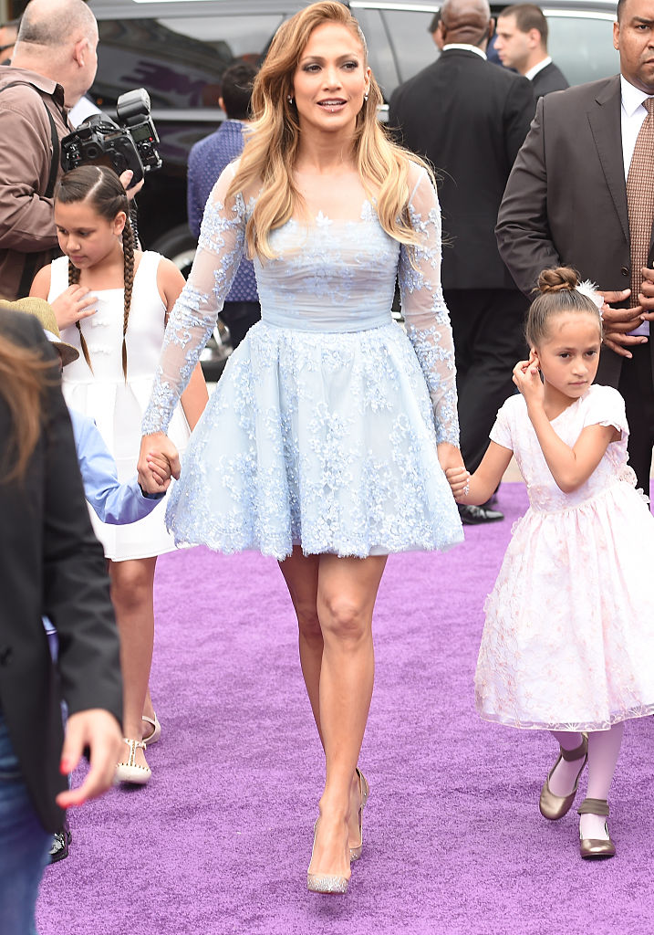 Jennifer Lopez (C) and son Maximilian David Muniz (L) and daughter Emme Maribel Muniz (R) at Twentieth Century Fox And Dreamworks Animation's 'Home' Premiere at Regency Village Theatre on March 22, 2015 in Westwood, California. (Photo by Jason Merritt/Getty Images)