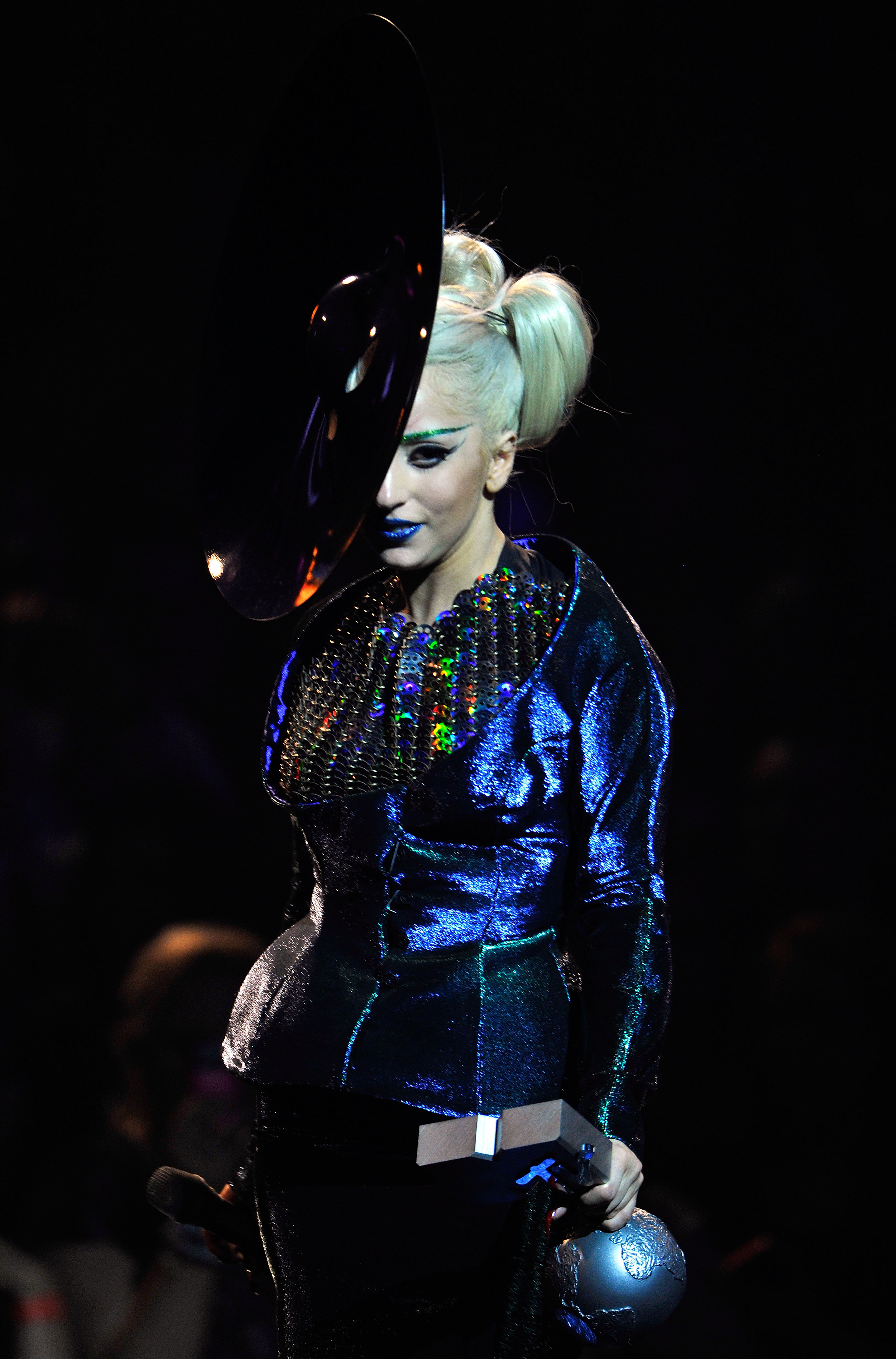 Singer Lady Gaga receives the Best Song award for 'Born This Way' during the MTV Europe Music Awards 2011 live show at at the Odyssey Arena on November 6, 2011, in Belfast, Northern Ireland. (Photo by Gareth Cattermole/Getty Images)