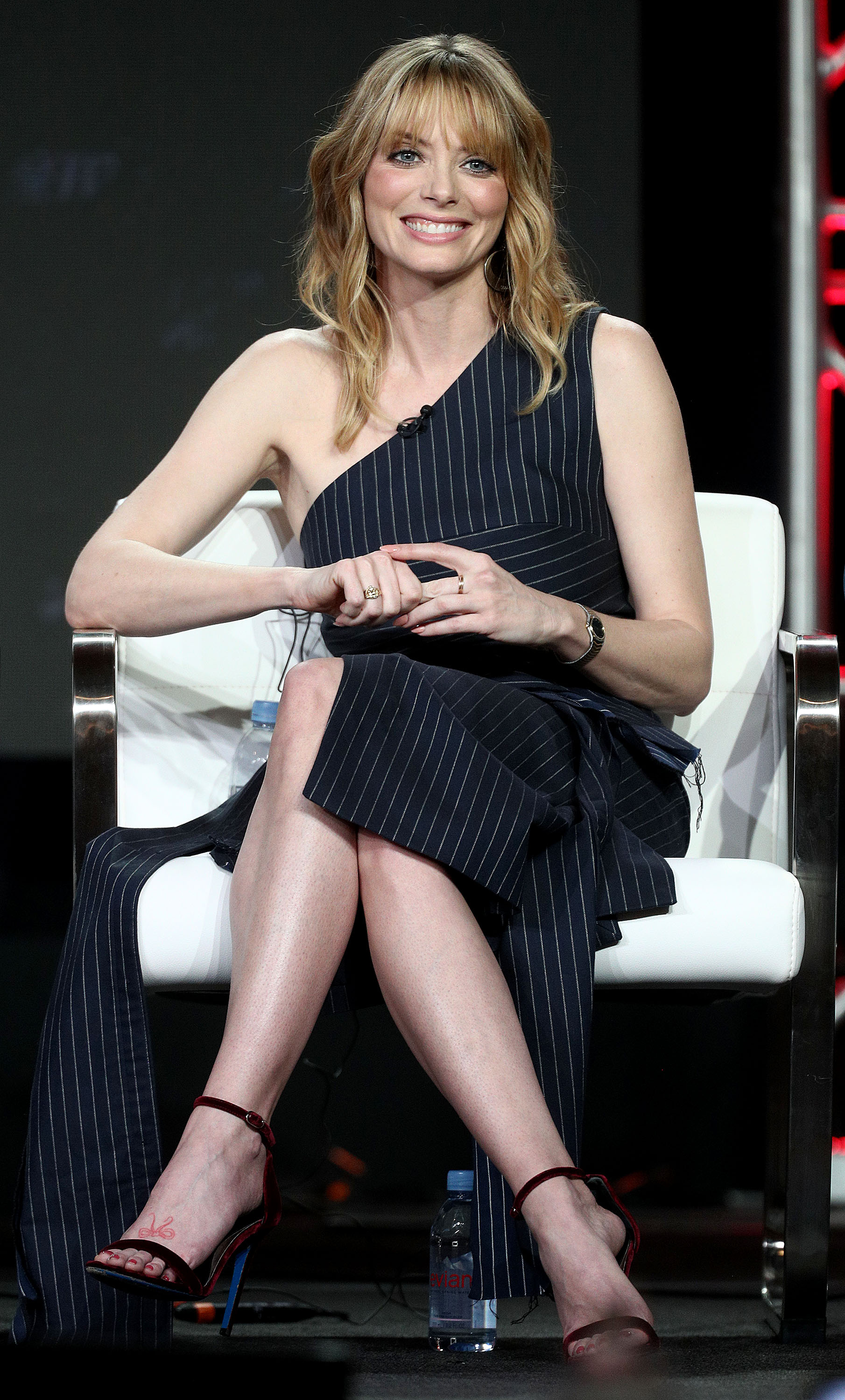 April Bowlby of the television show 'Doom Patrol' speaks during the Warner Bros. segment of the 2019 Winter Television Critics Association Press Tour at The Langham Huntington, Pasadena, California. (Photo by Frederick M. Brown/Getty Images)