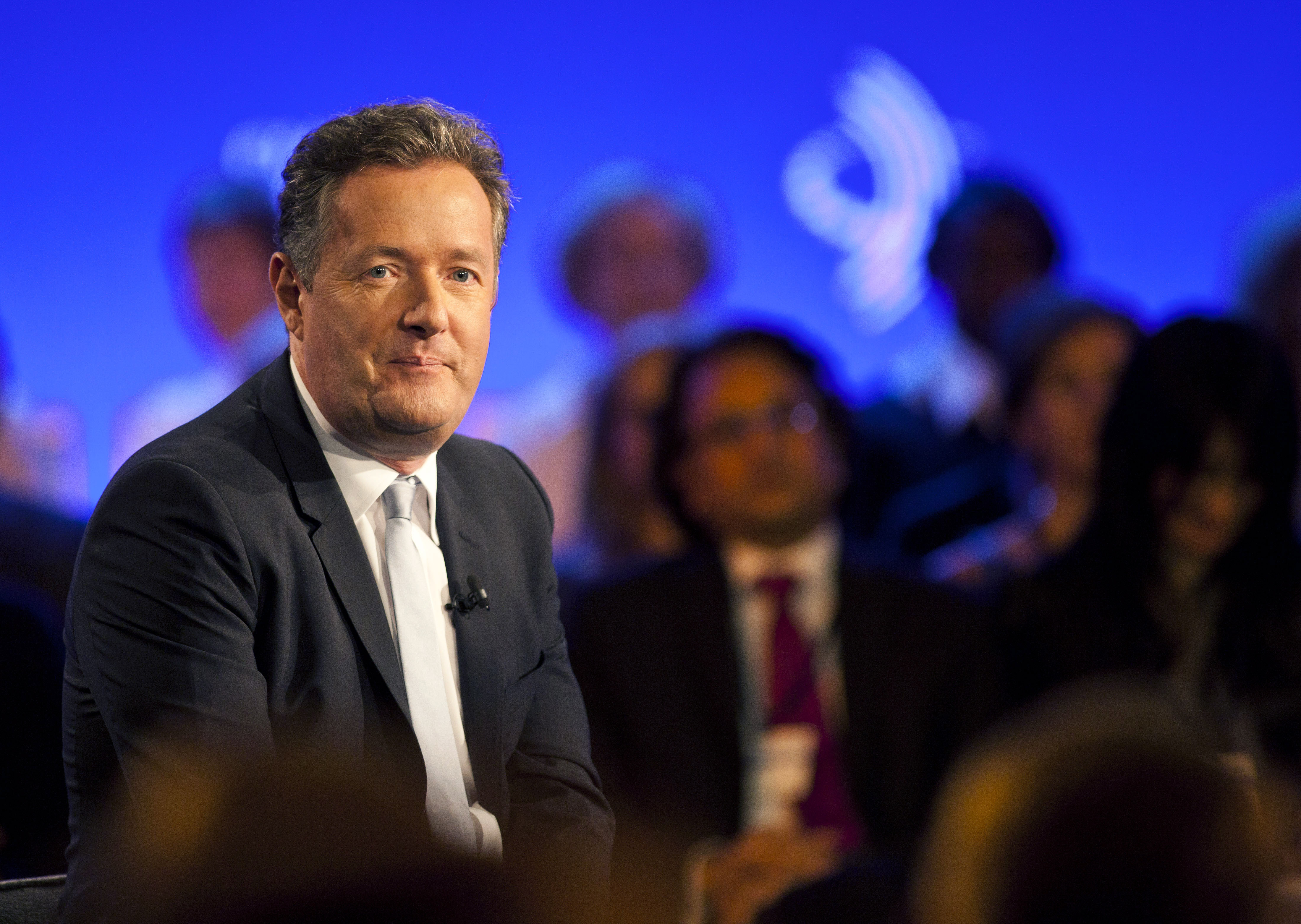 Piers Morgan, speaks during a taping of CNN's Piers Morgan Tonight at the annual Clinton Global Initiative (CGI) meeting on September 25, 2013 in New York City. Timed to coincide with the United Nations General Assembly, CGI brings together heads of state, CEOs, philanthropists and others to help find solutions to the world's major problems. (Getty Images)