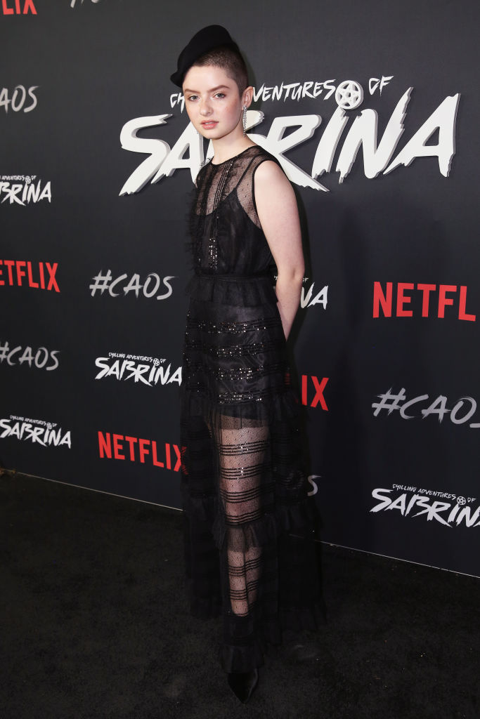Lachlan Watson attends Netflix Original Series 'Chilling Adventures of Sabrina' red carpet and premiere event on October 19, 2018 in Los Angeles, California. (Photo by Rachel Murray/Getty Images for Netflix)