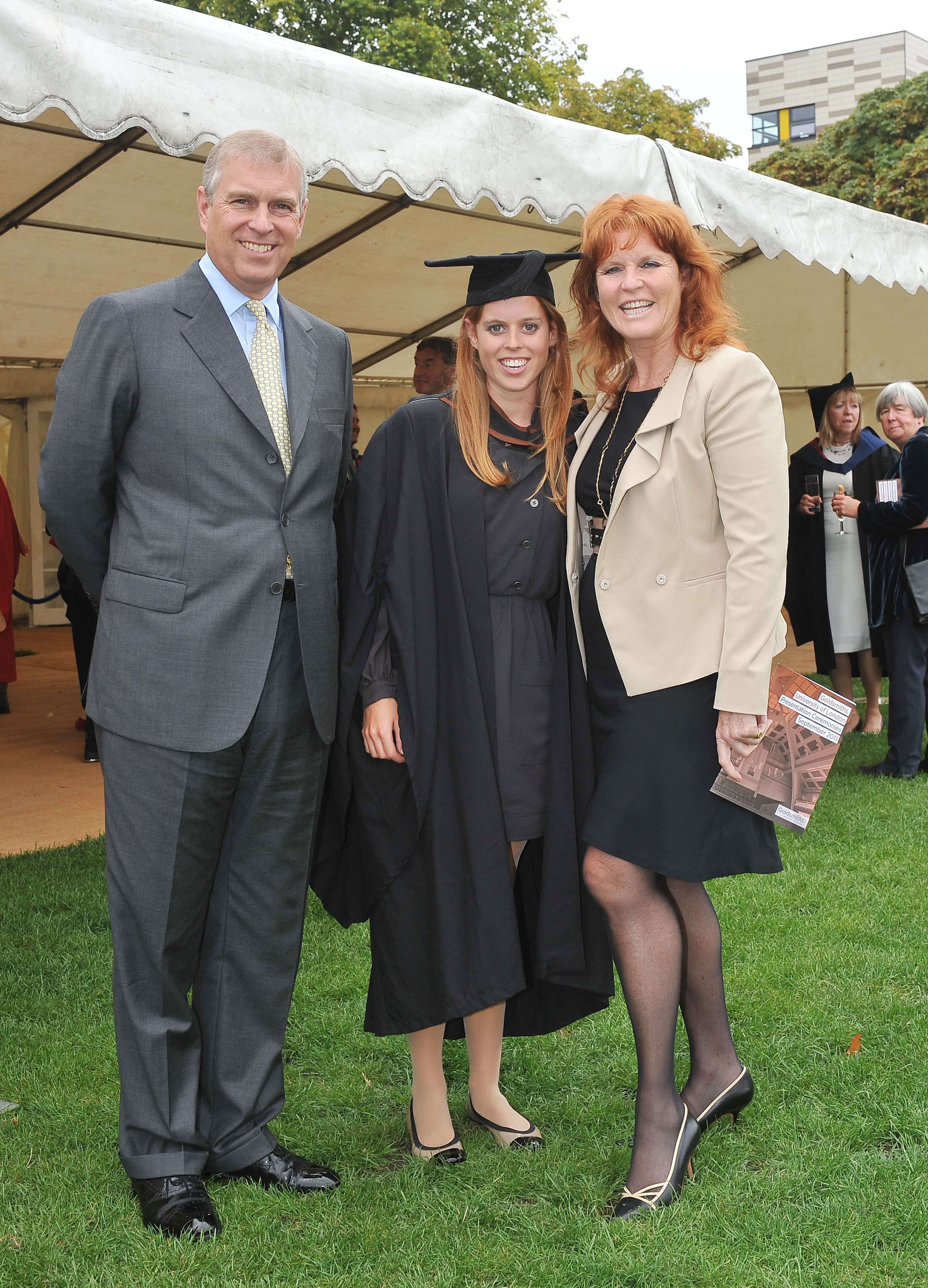 Prince Andrew, The Duke York (L), Sarah, Duchess of York (R) and their daughter, Princess Beatrice, following her graduation ceremony at Goldsmiths College on September 9, 2011 in London, United Kingdom